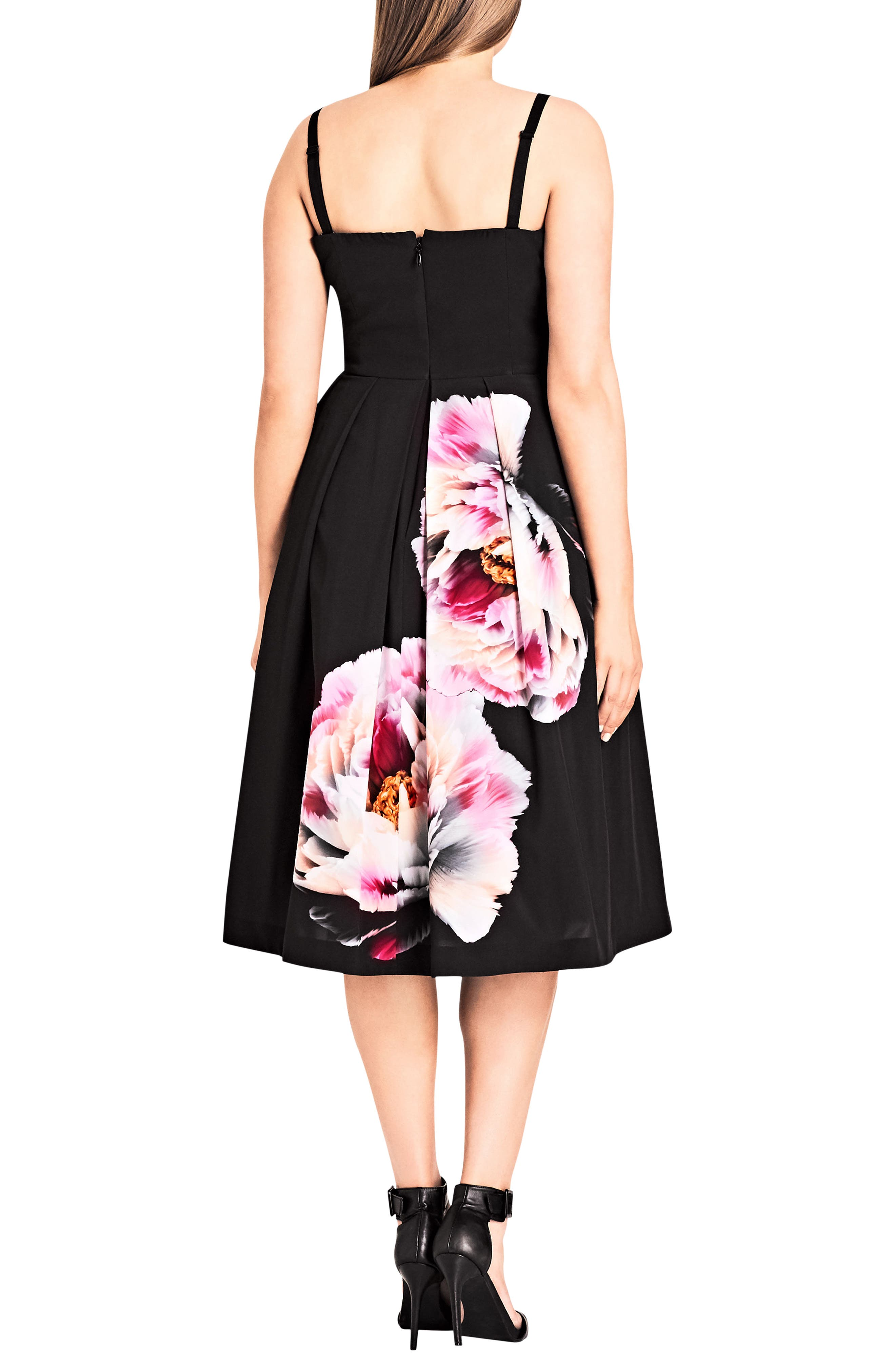 Bold Bloom Pleated Fit & Flare Dress,                             Alternate thumbnail 2, color,                             Black