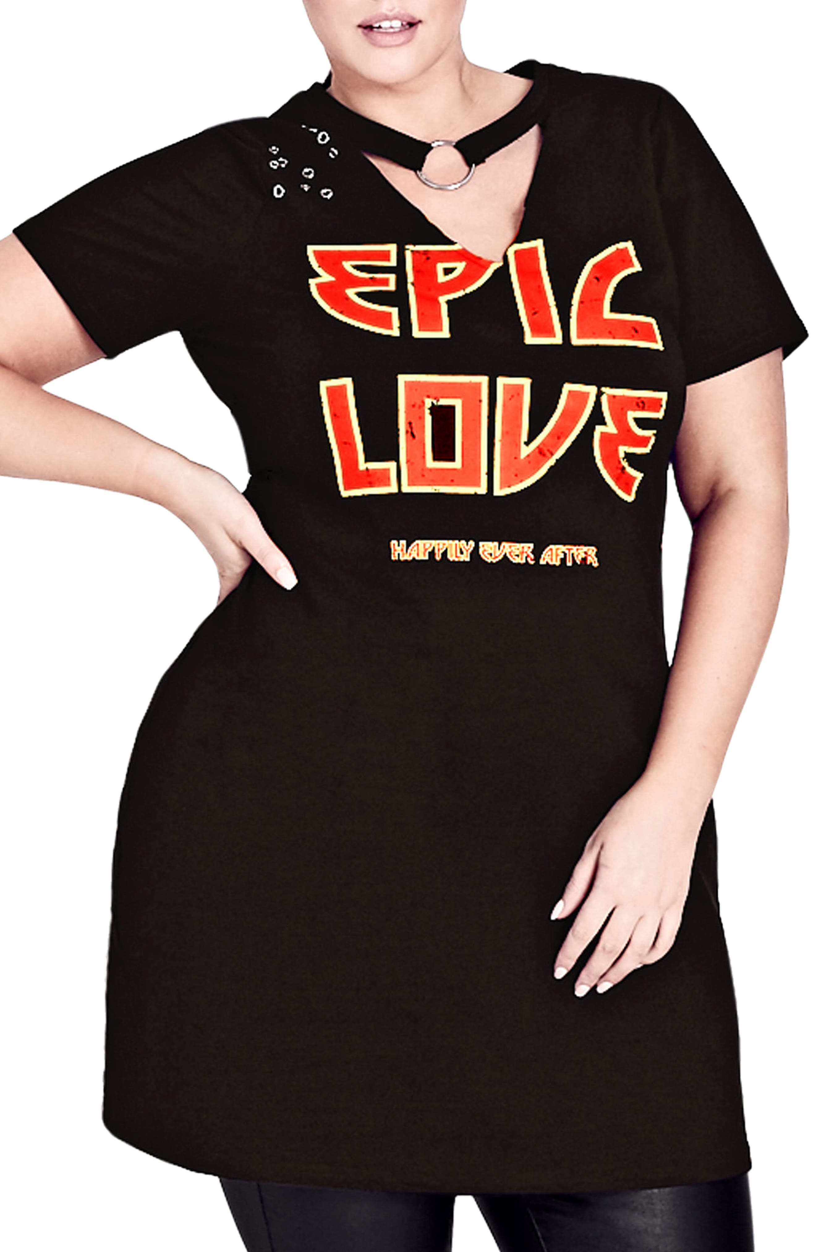 Epic Love Stretch Cotton Tunic,                             Main thumbnail 1, color,                             Black