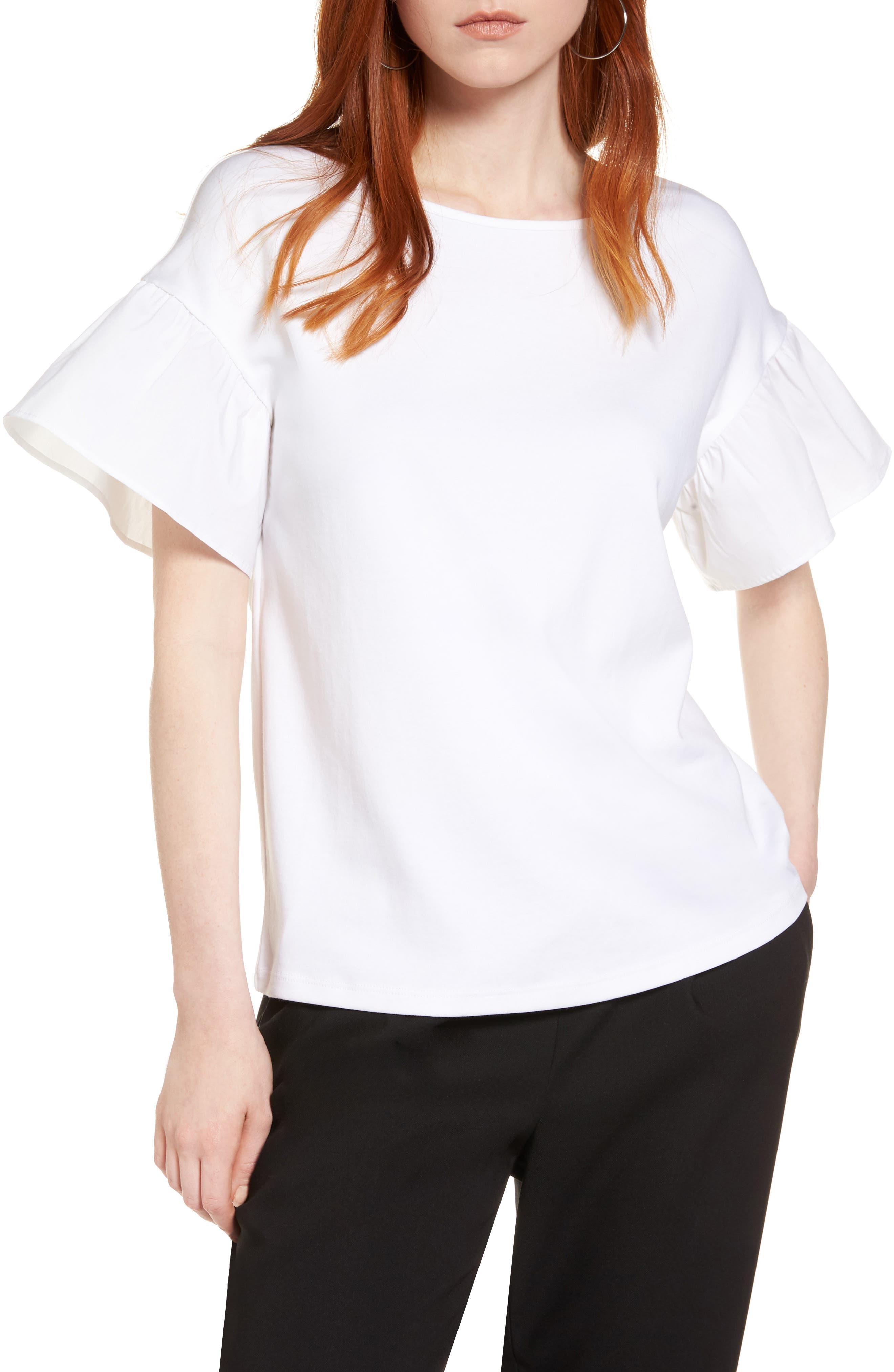 Halogen® Flutter Sleeve Cotton Knit Top (Regular & Petite)