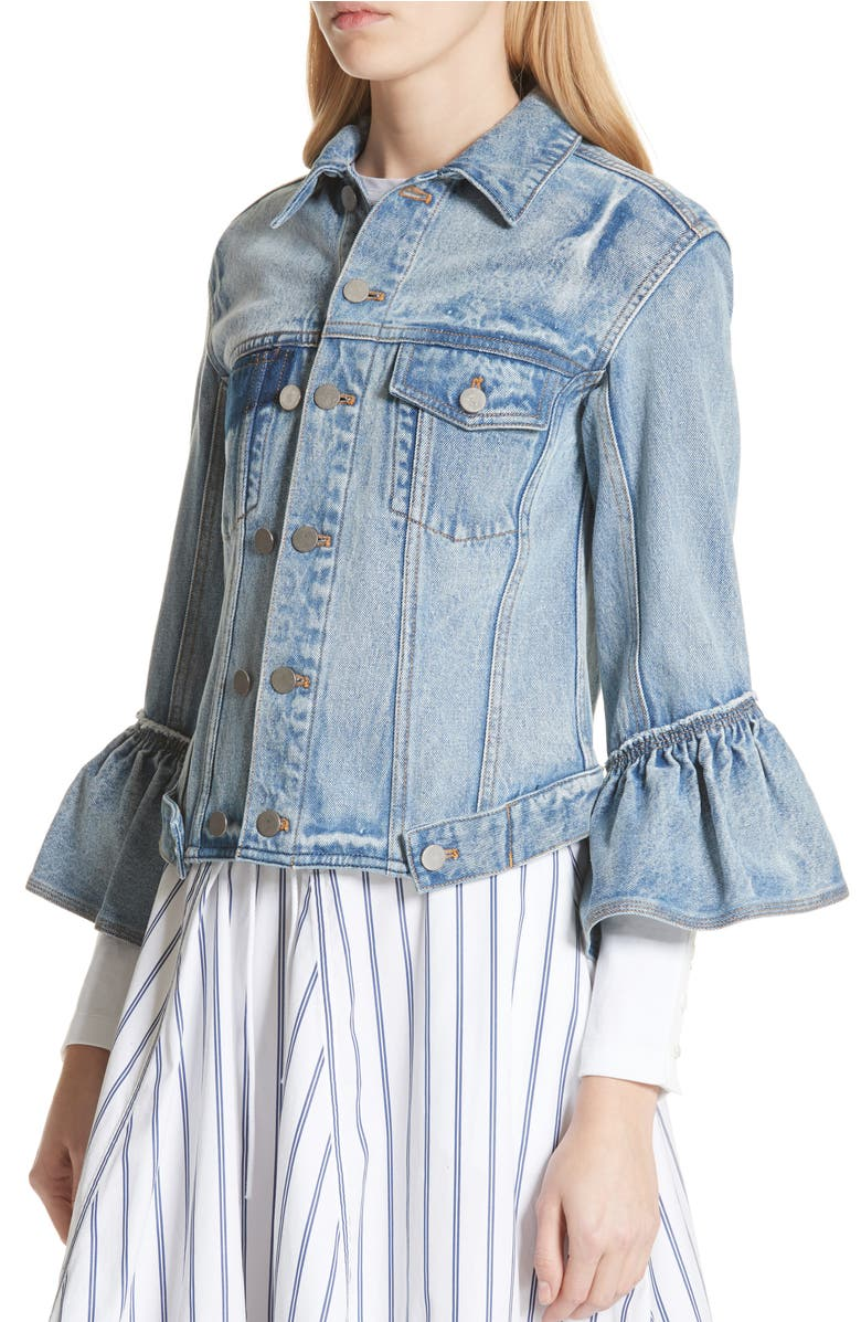 Ruffle Cuff Denim Jacket,                         Alternate,                         color, Indigo