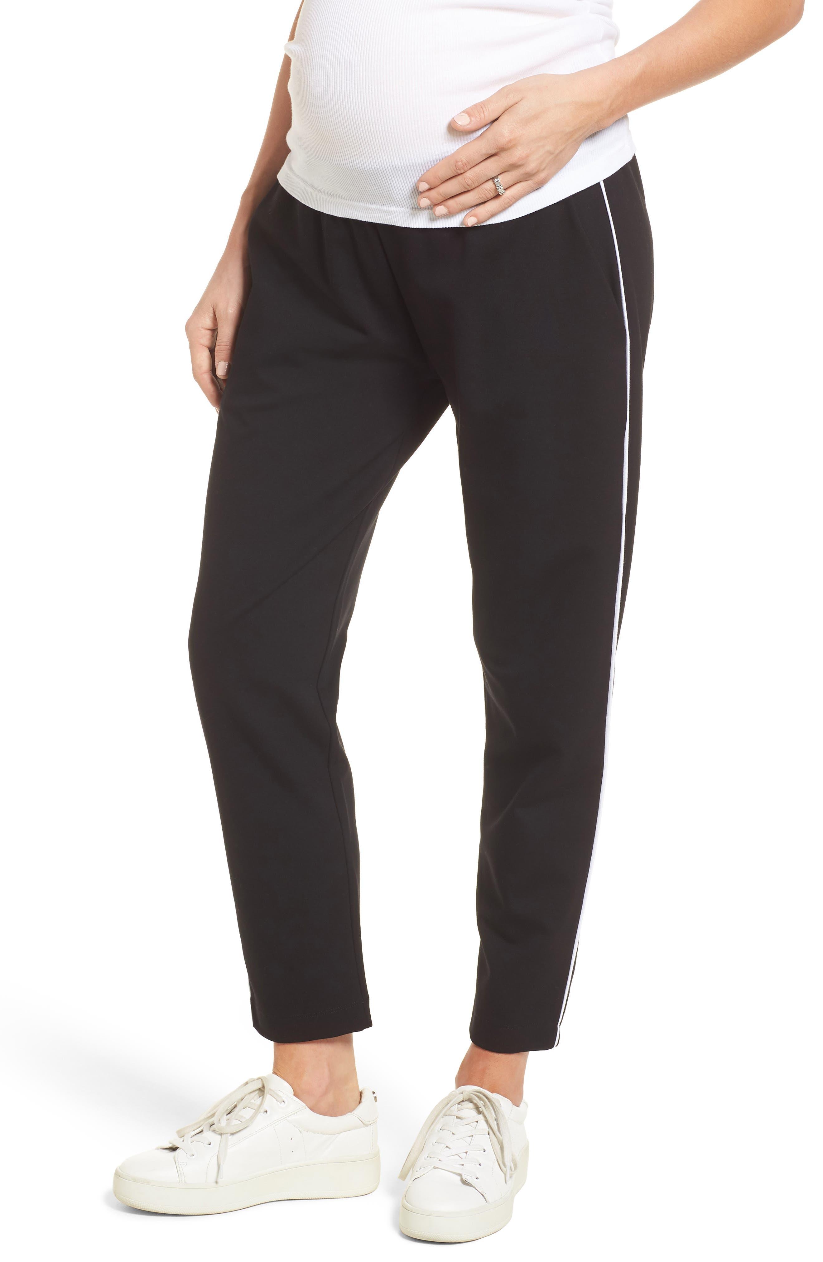 Maxine Contrast Maternity Pants,                         Main,                         color, Caviar Black