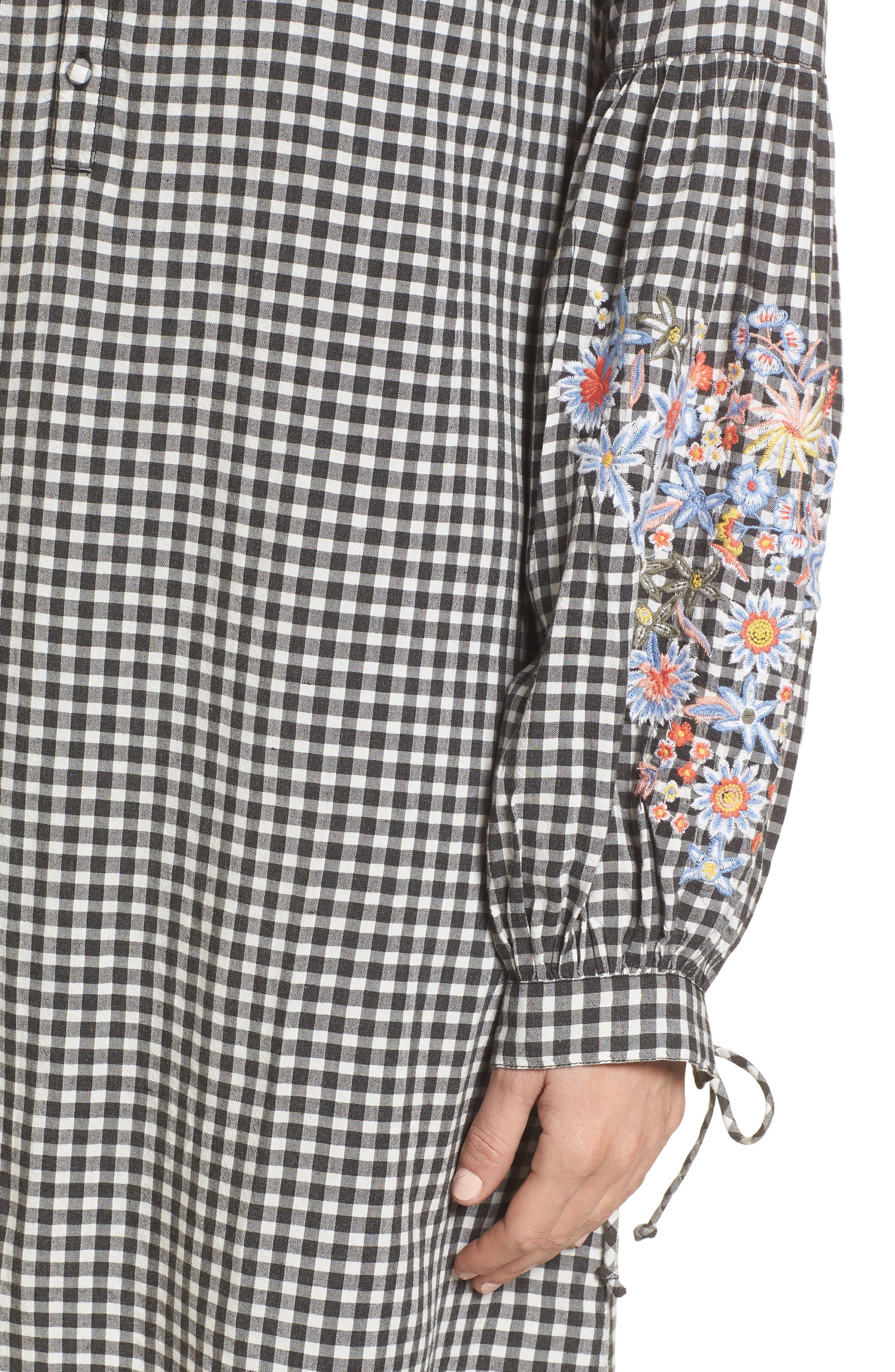 Embroidered Sleeve Shift Dress,                             Alternate thumbnail 4, color,                             Black-White Gingham