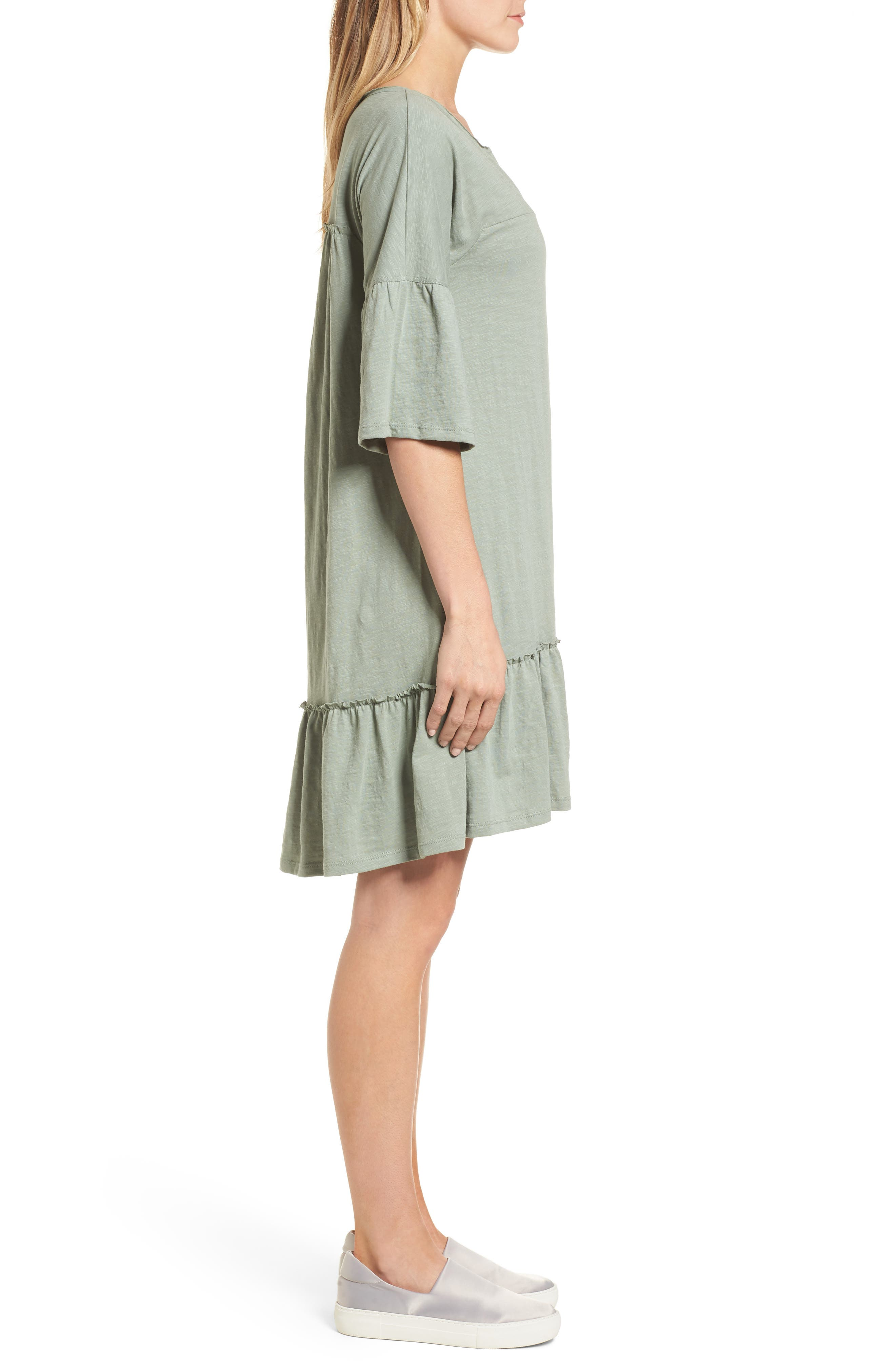 Ruffle Sleeve Cotton Dress,                             Alternate thumbnail 3, color,                             Green Lilypad
