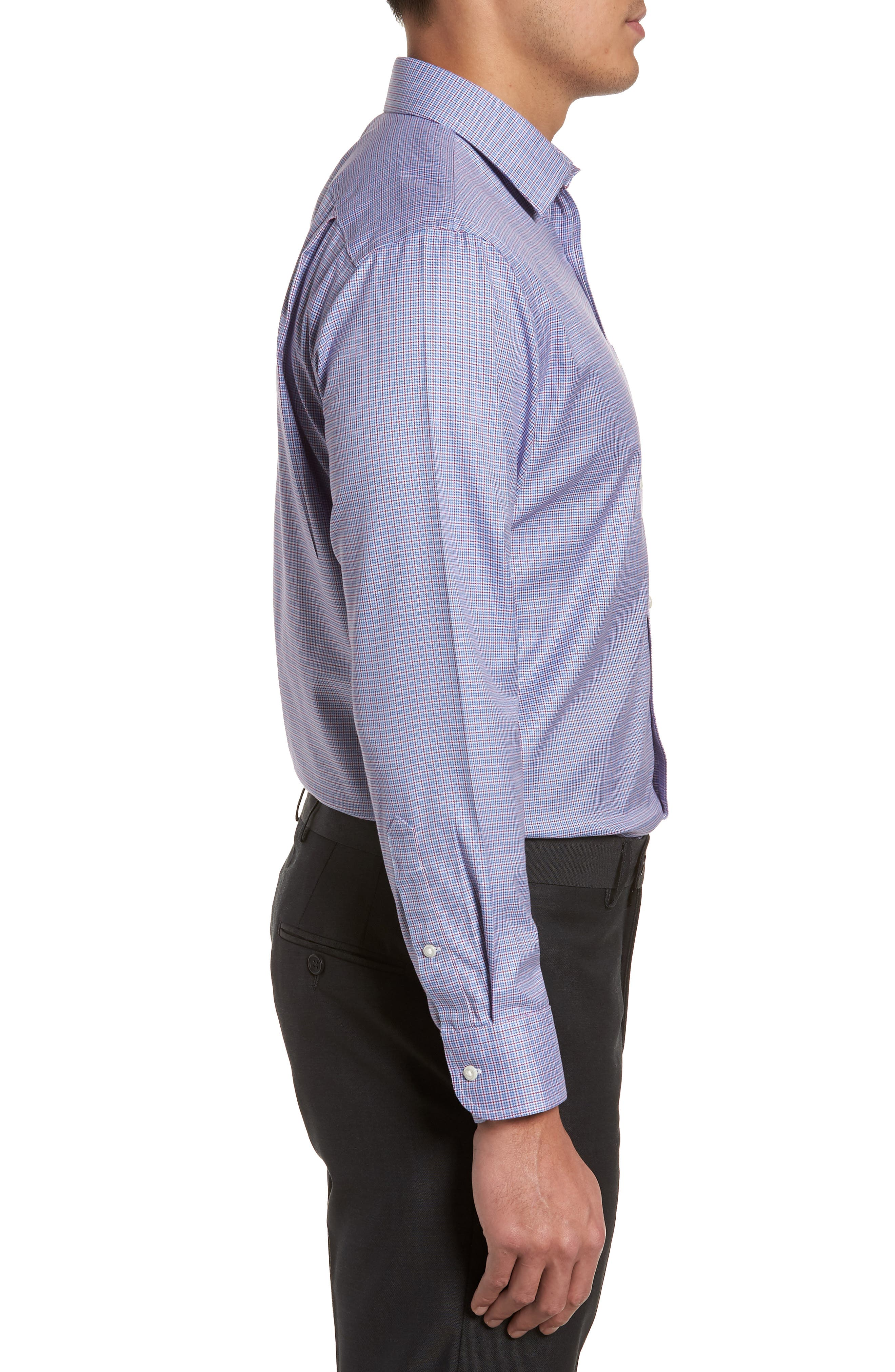 Smartcare<sup>™</sup> Trim Fit Check Dress Shirt,                             Alternate thumbnail 4, color,                             Red Ruby
