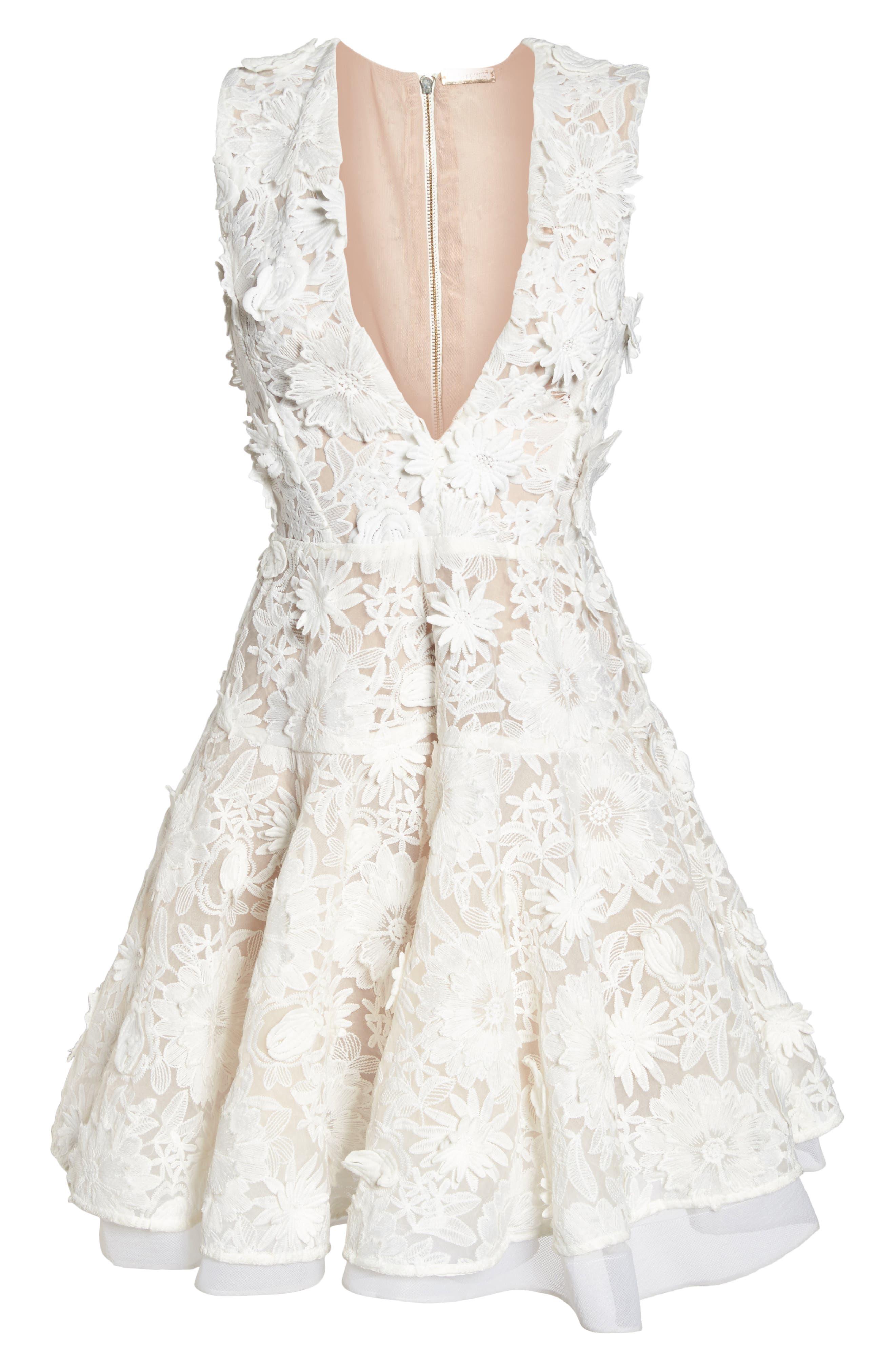 Mila Lace Fit & Flare Dress,                             Alternate thumbnail 6, color,                             White