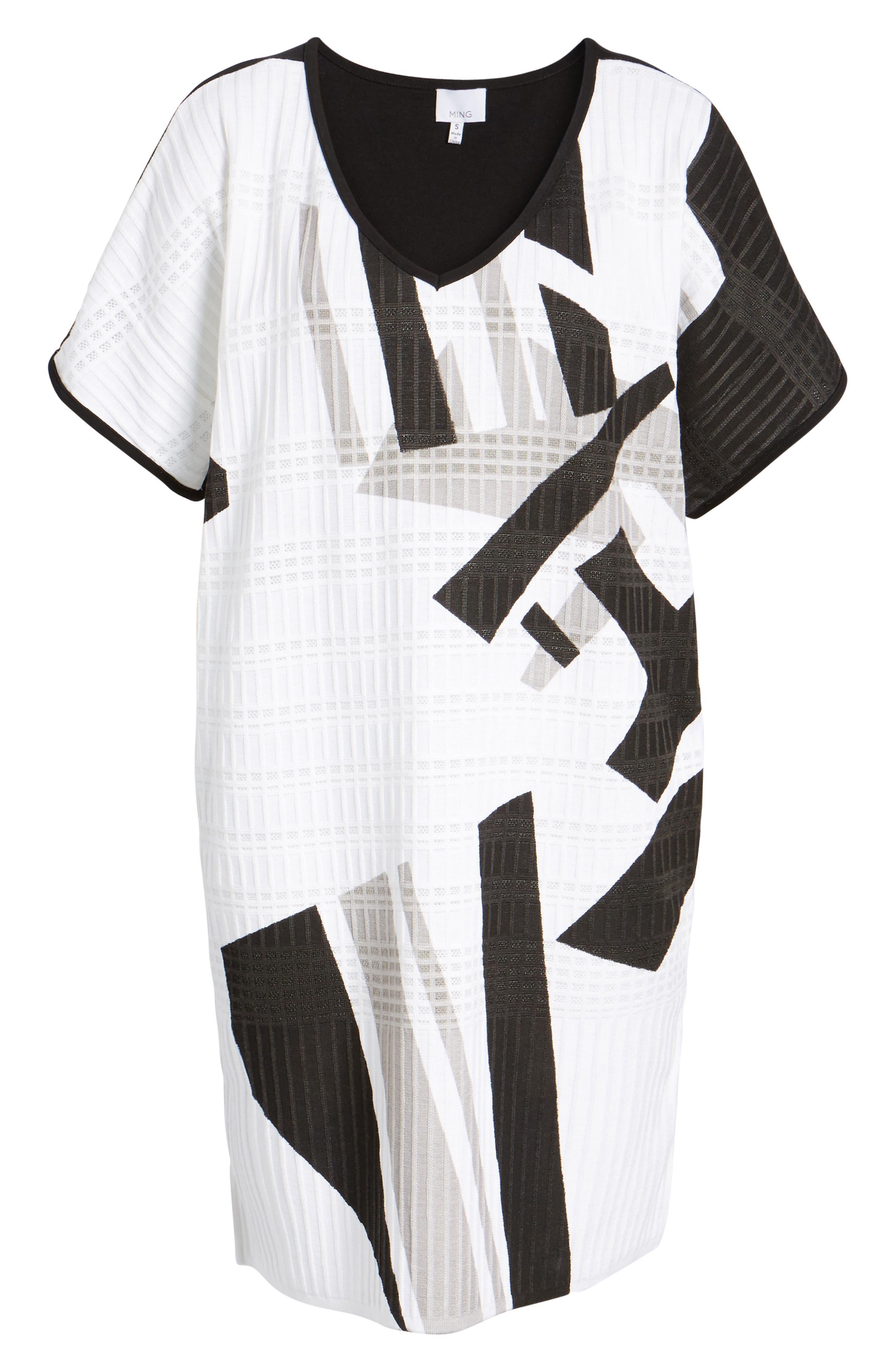 Geometric Jacquard Tunic Dress,                             Alternate thumbnail 6, color,                             White/ Almond Beige/ Black