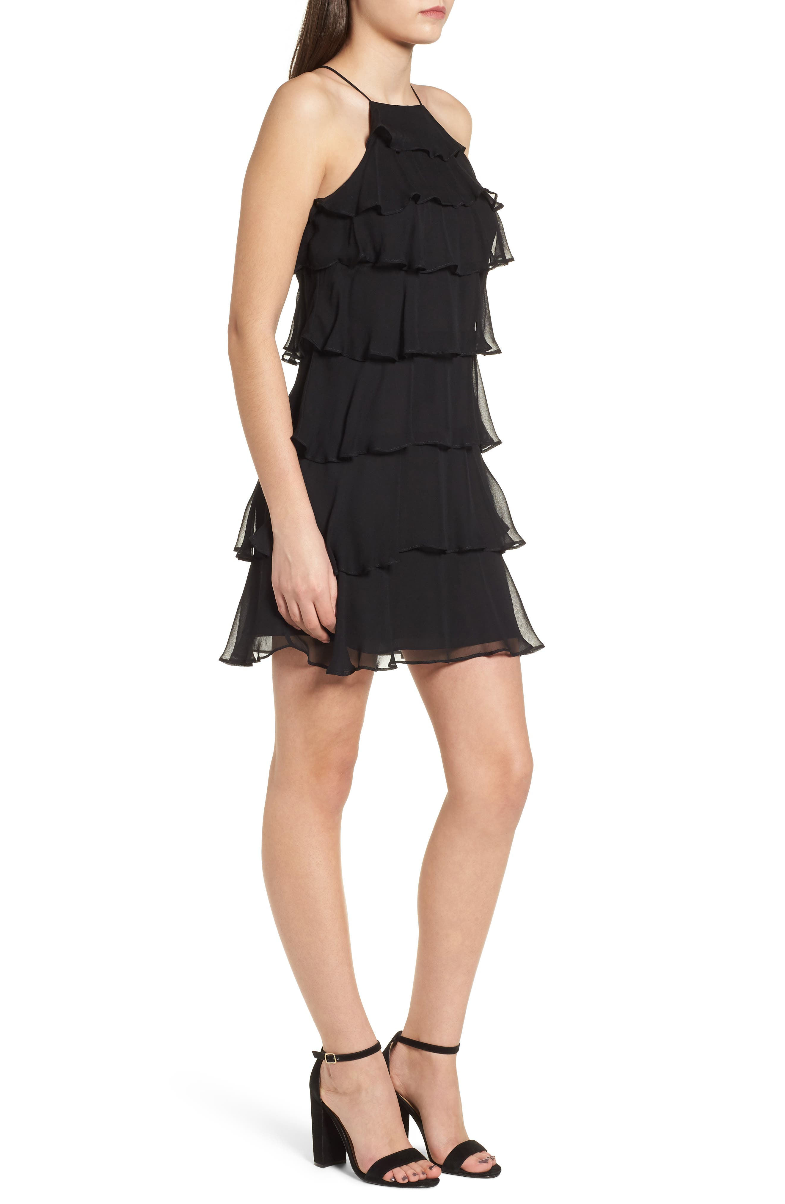 Delectable Tiered Silk Dress,                             Alternate thumbnail 3, color,                             Black