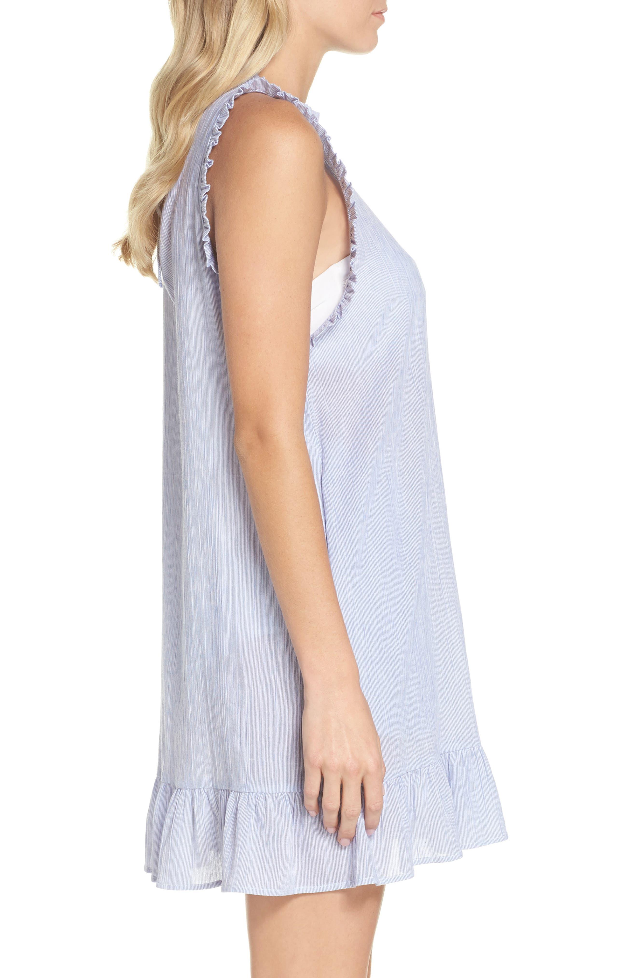 Heidi Cover-Up Dress,                             Alternate thumbnail 3, color,                             Blue/ White