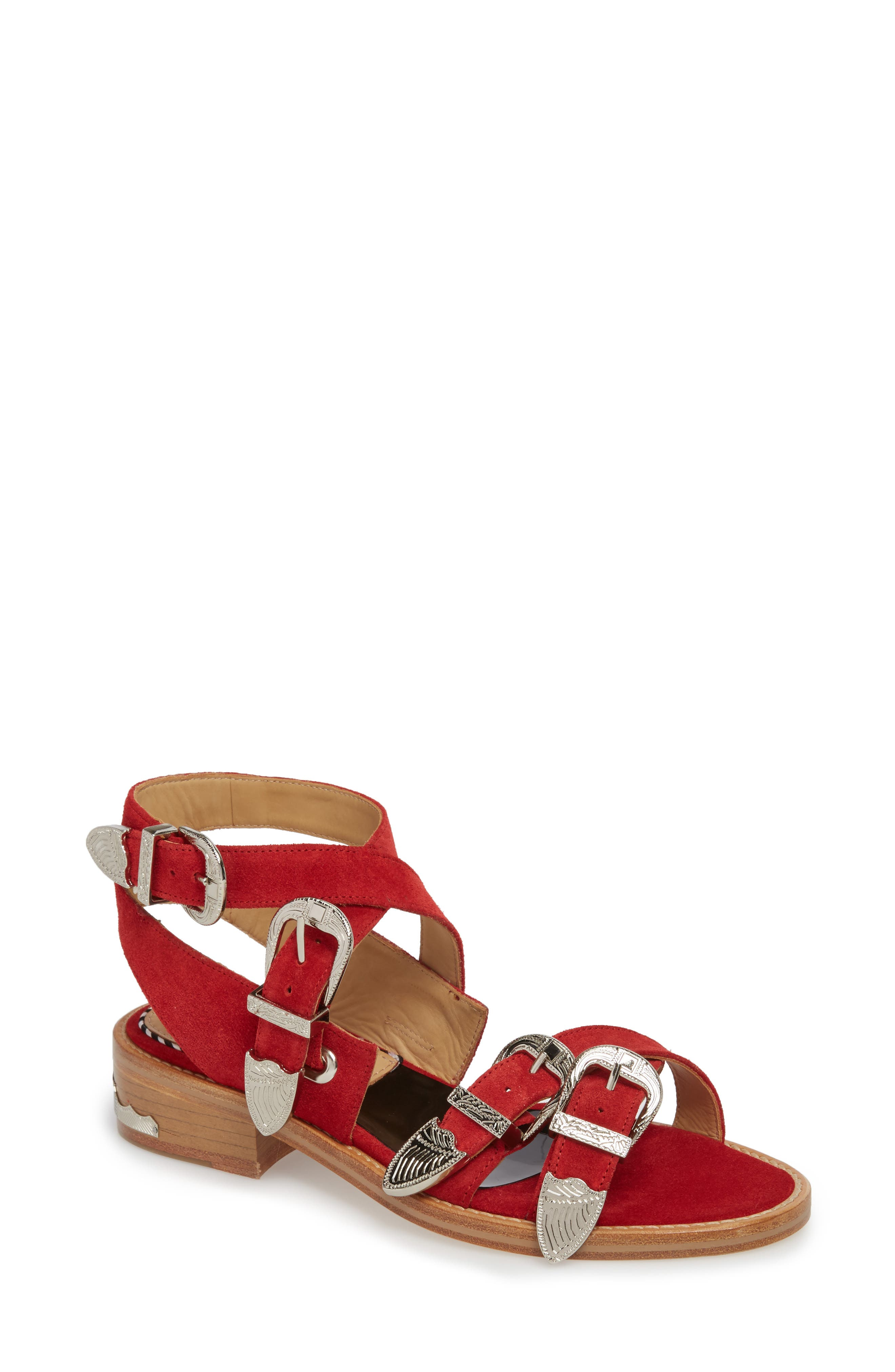 Western Suede Strappy Sandal,                             Main thumbnail 1, color,                             Red Suede