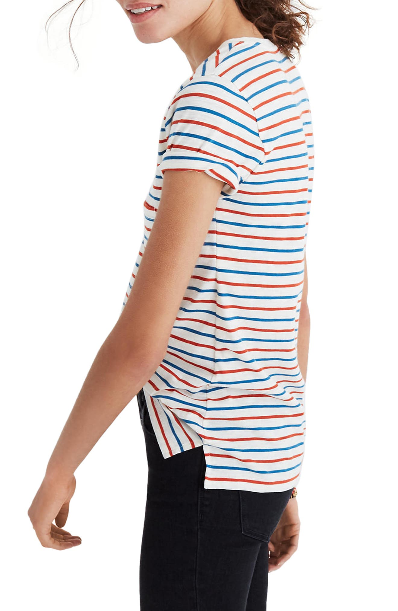 Whisper Cotton Stripe V-Neck Tee,                             Alternate thumbnail 3, color,                             Bright Ivory