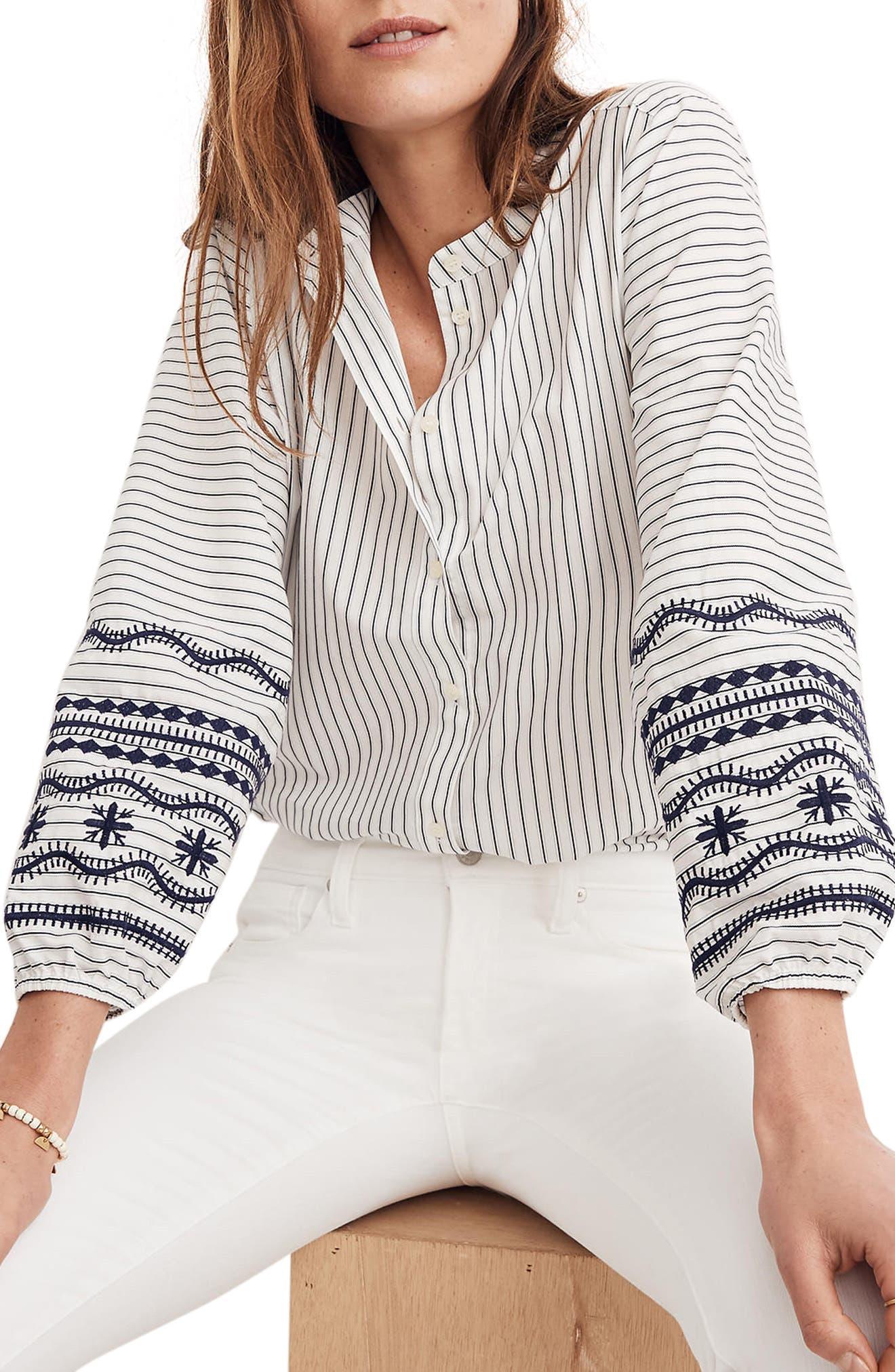 Madewell Stripe Embroidered Sleeve Shirt