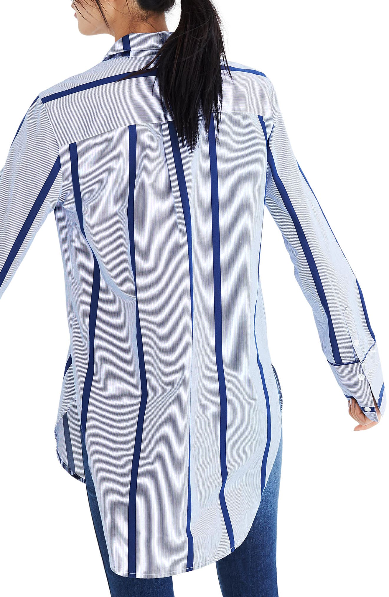 Stripe Button Down Tunic Shirt,                             Alternate thumbnail 2, color,                             Jordan Stripe Midnight