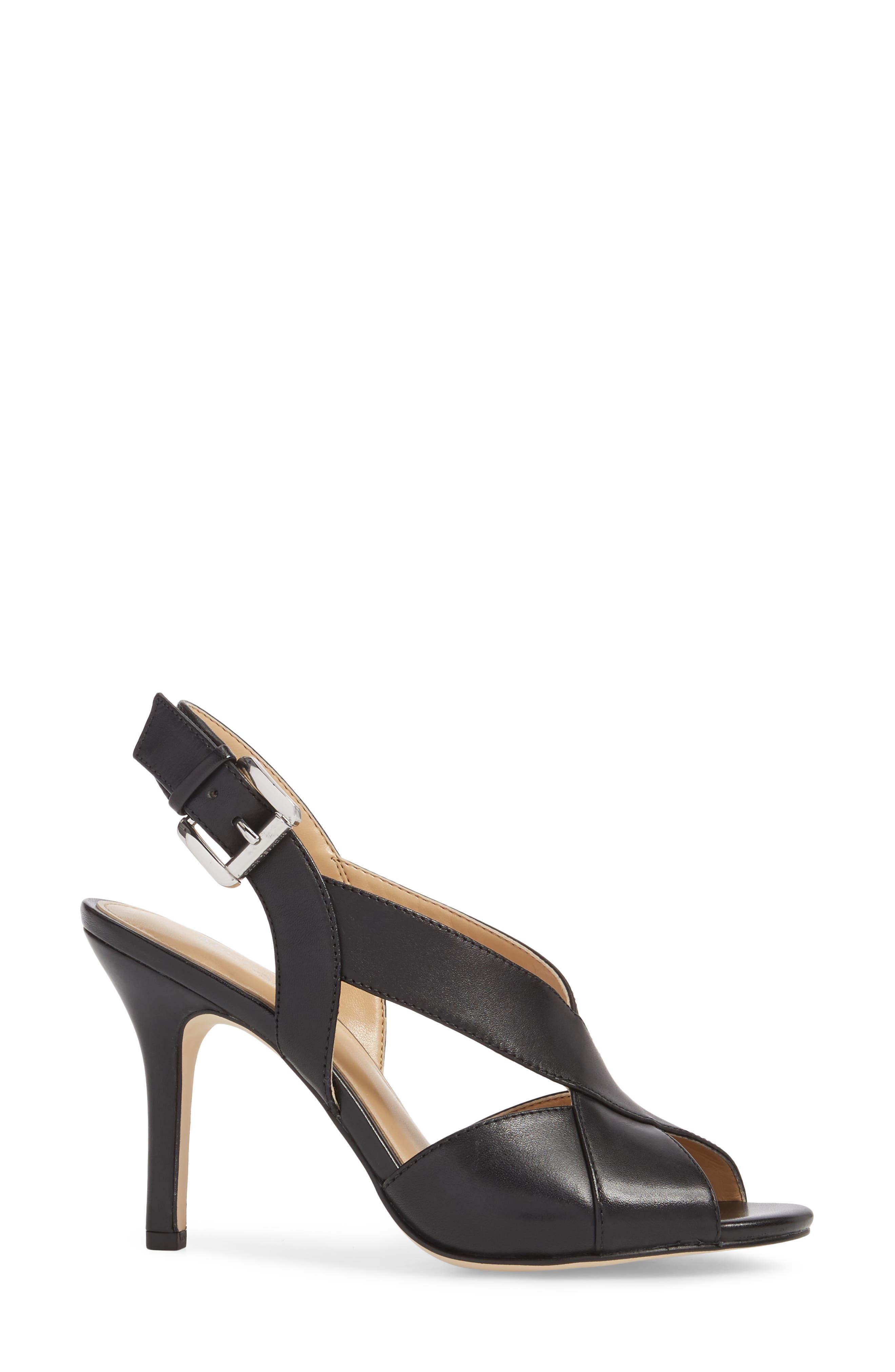 Becky Slingback Sandal,                             Alternate thumbnail 3, color,                             Black Leather