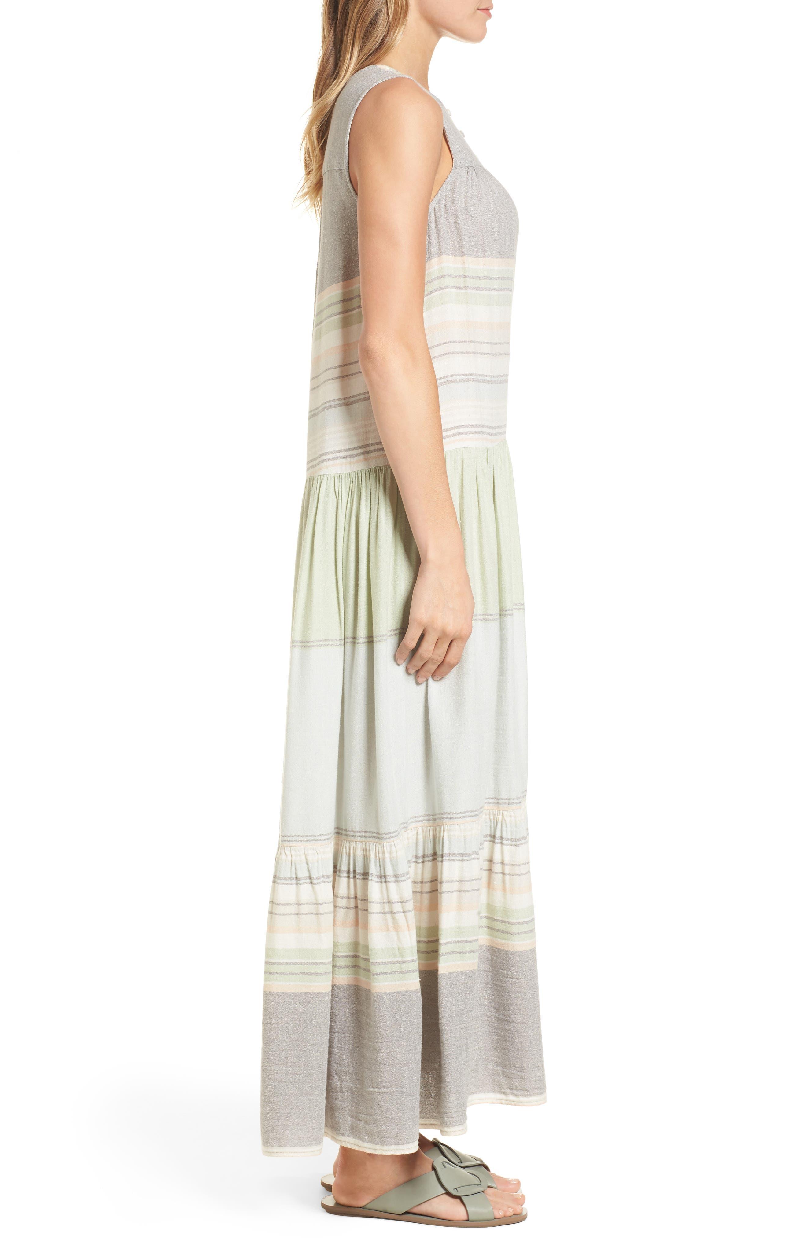 Multi Stripe Woven Maxi Dress,                             Alternate thumbnail 3, color,                             Green- Grey Vallis Stripe