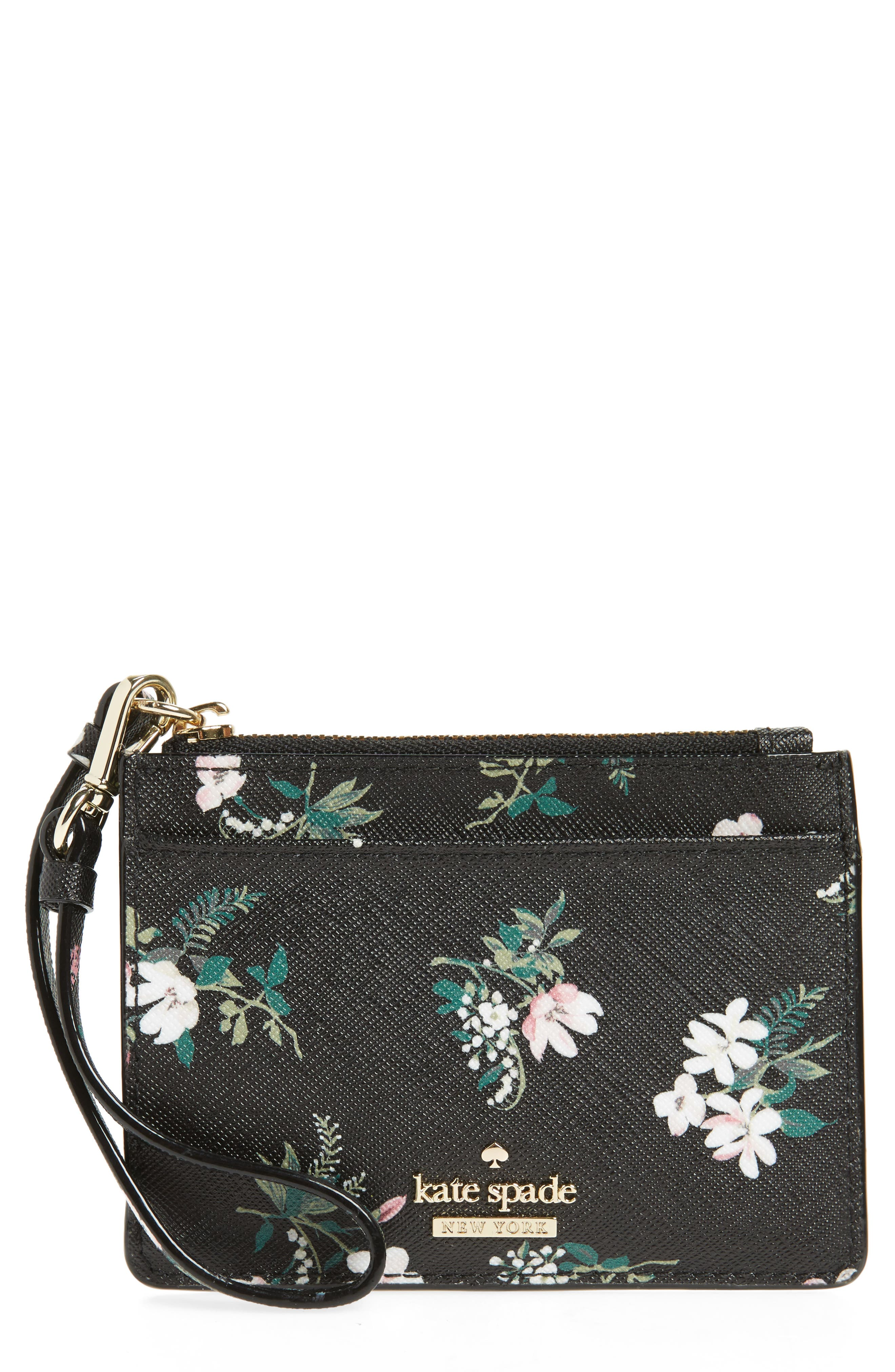cameron street - flora mellody fabric card case,                             Main thumbnail 1, color,                             Black Multi