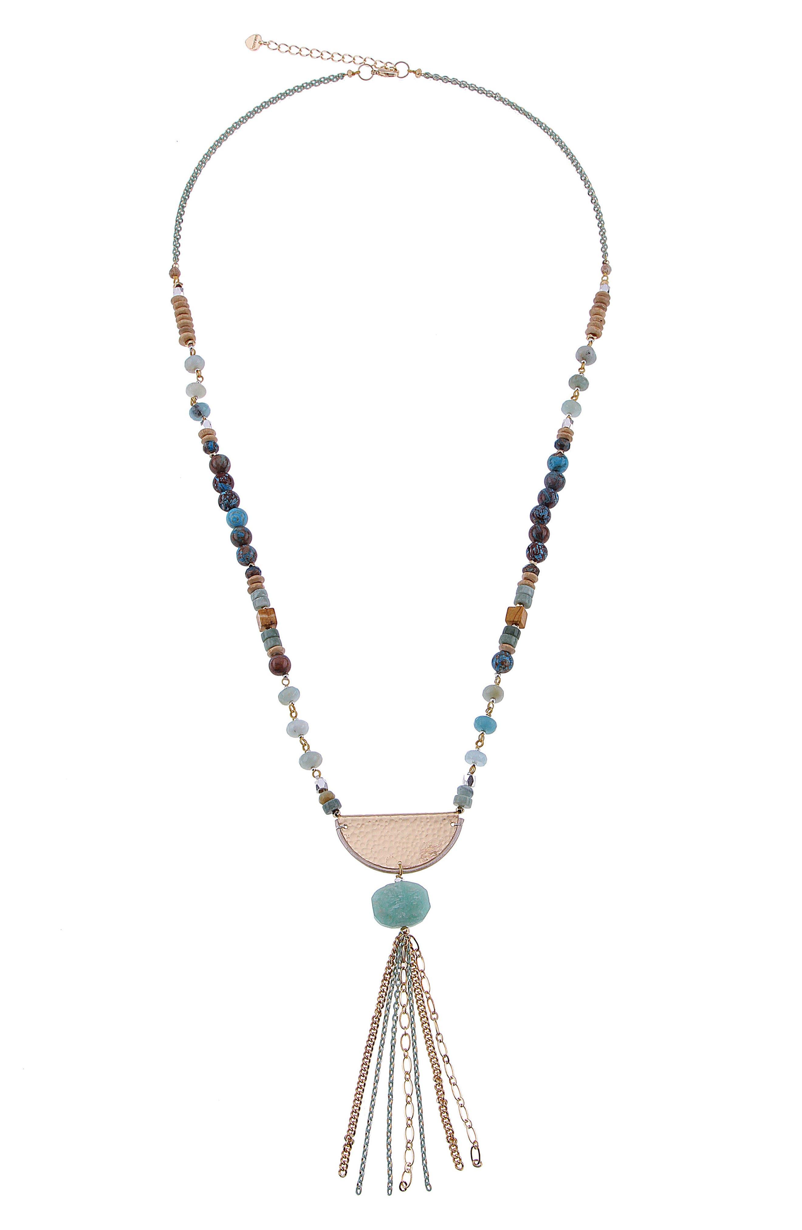 Amazonite Chain Tassel Necklace,                         Main,                         color, Aqua