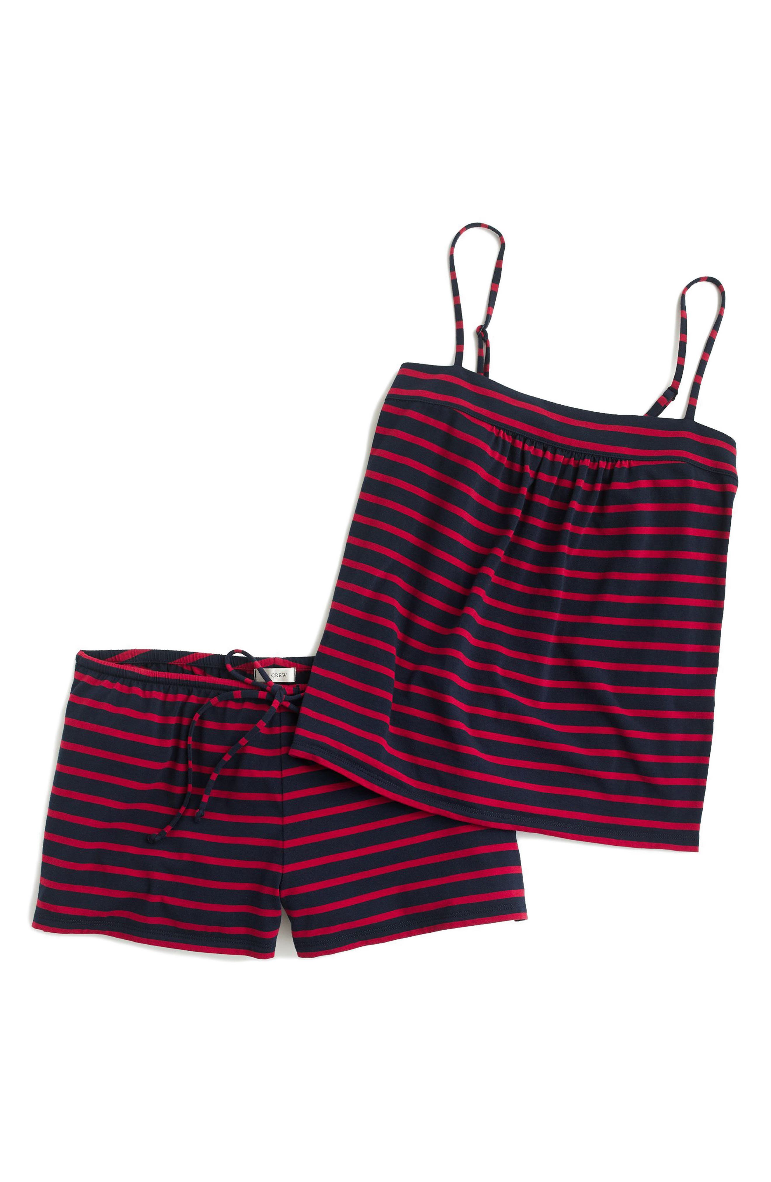 Stripe Short Pajamas,                             Alternate thumbnail 3, color,                             Navy Red