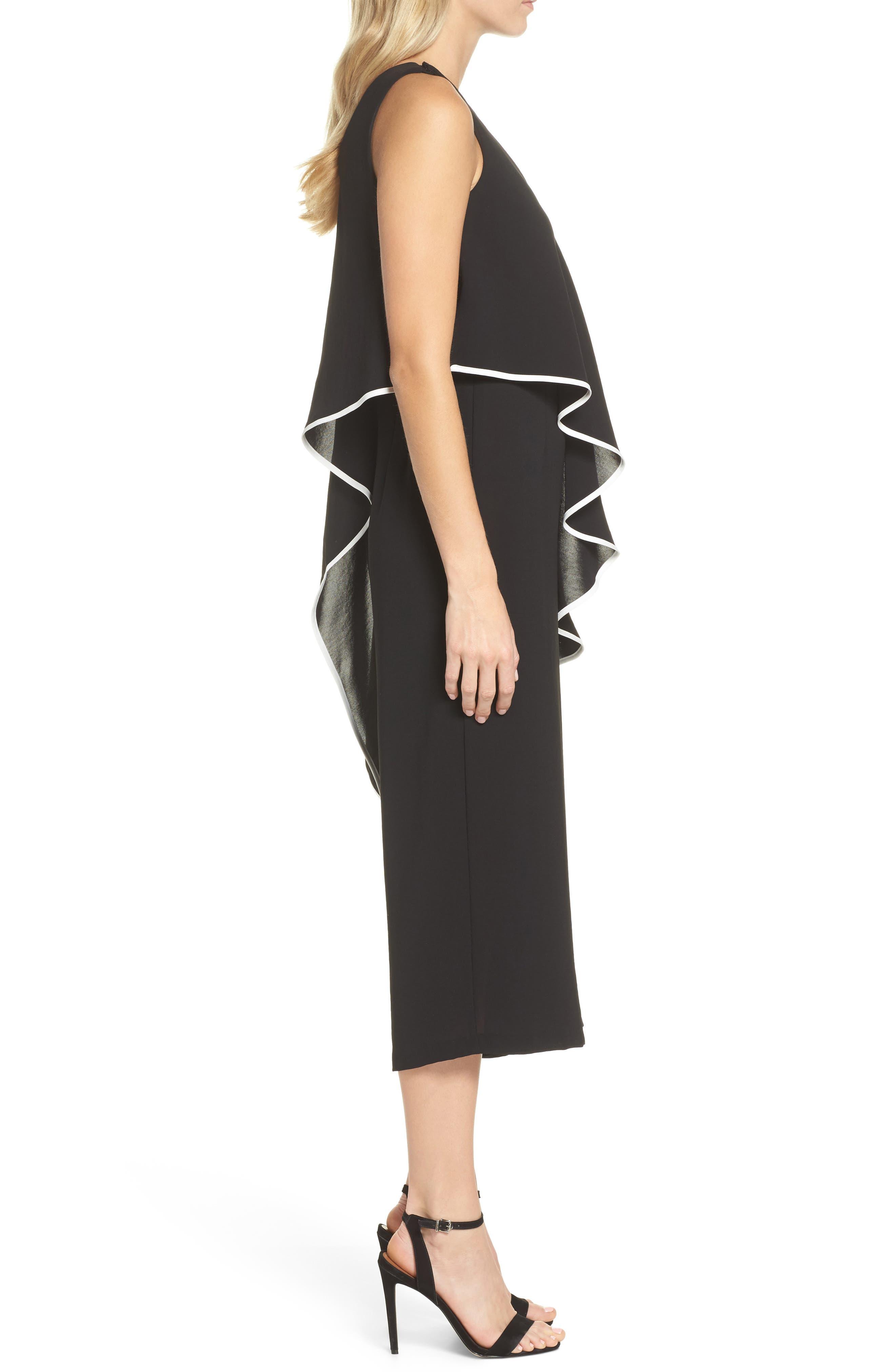 Contrast Trim Crop Jumpsuit,                             Alternate thumbnail 3, color,                             Black/ Ivory