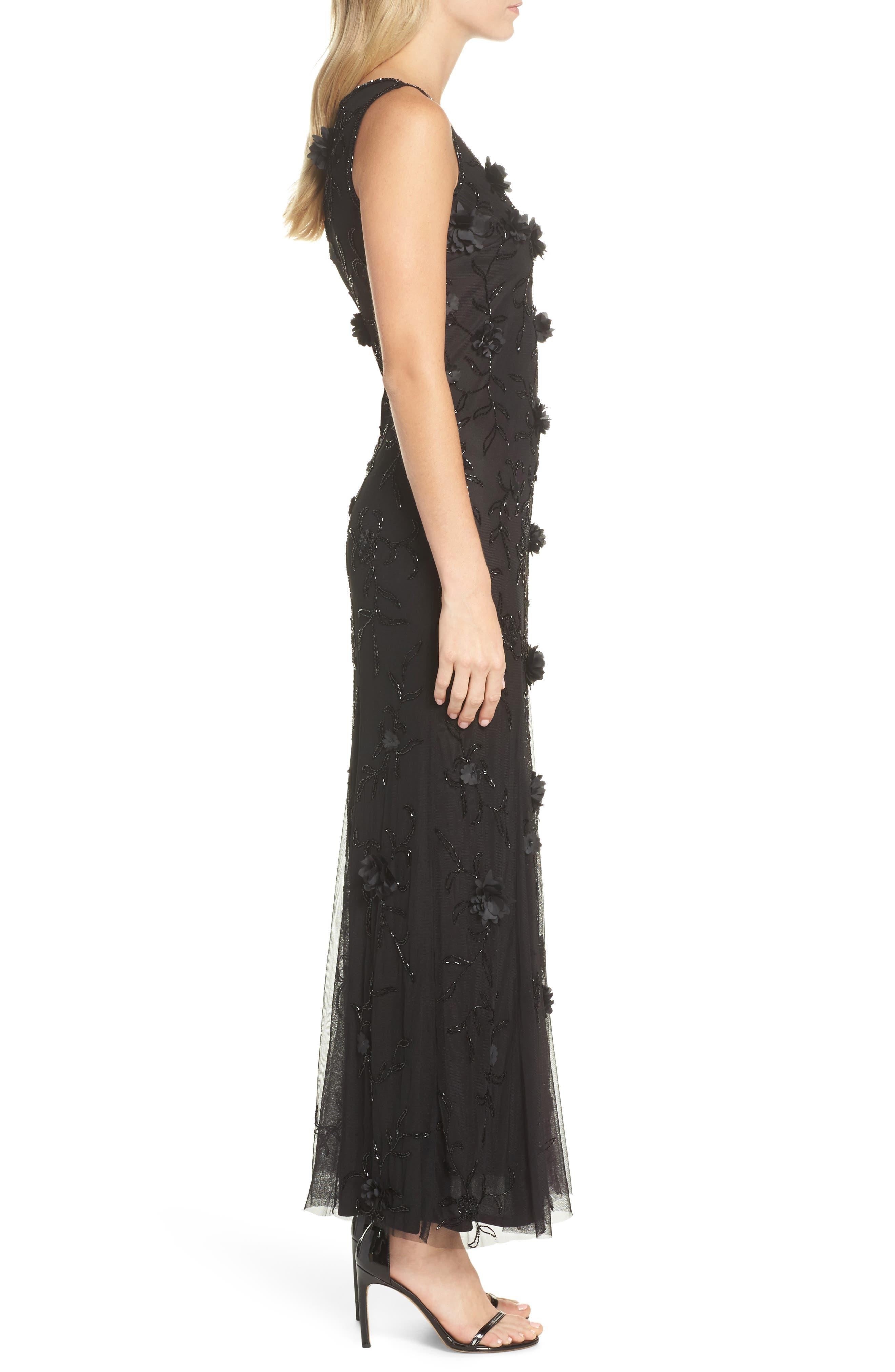 Embellished 3D Floral Maxi Dress,                             Alternate thumbnail 3, color,                             Black