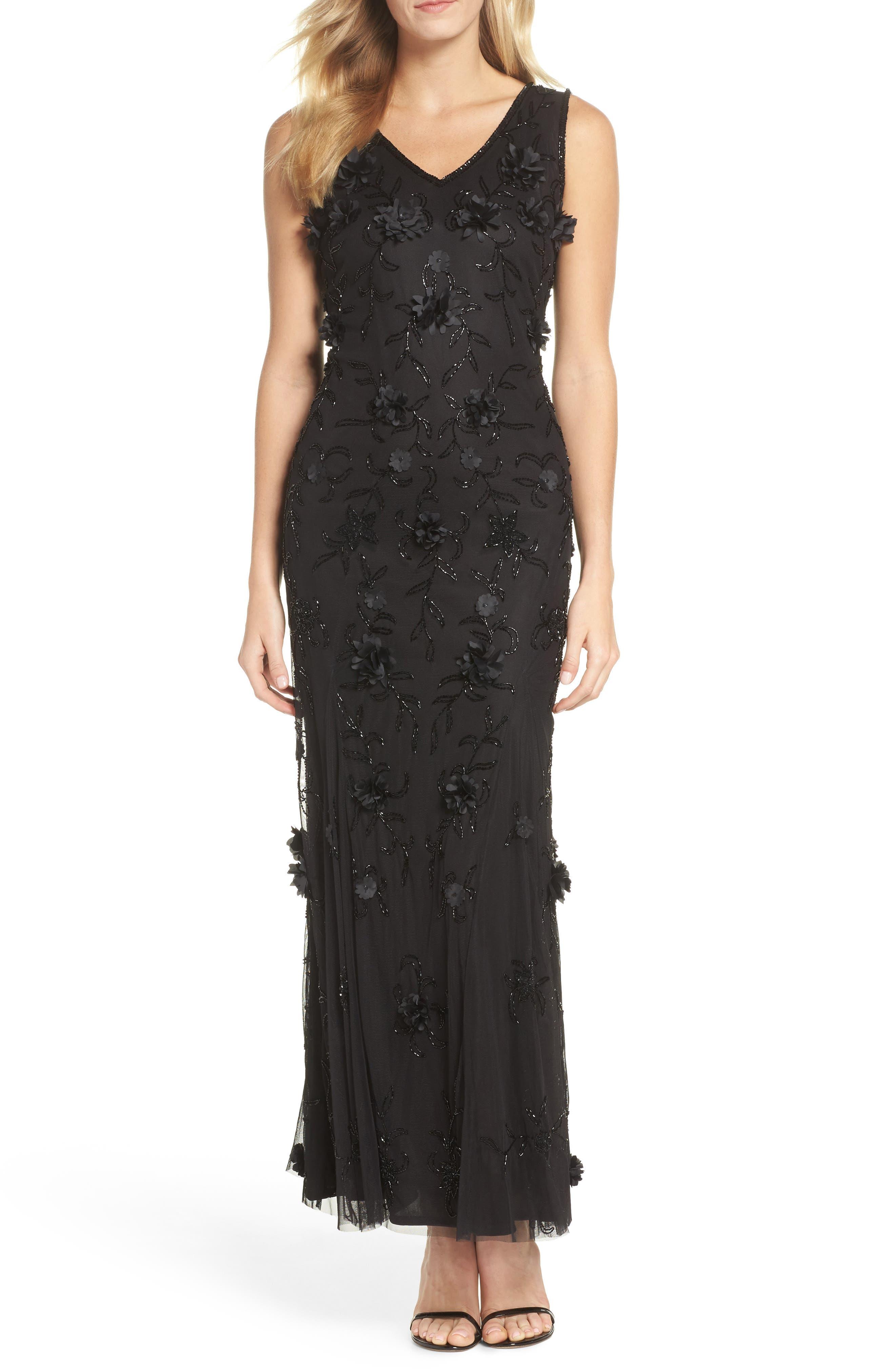 Embellished 3D Floral Maxi Dress,                             Main thumbnail 1, color,                             Black