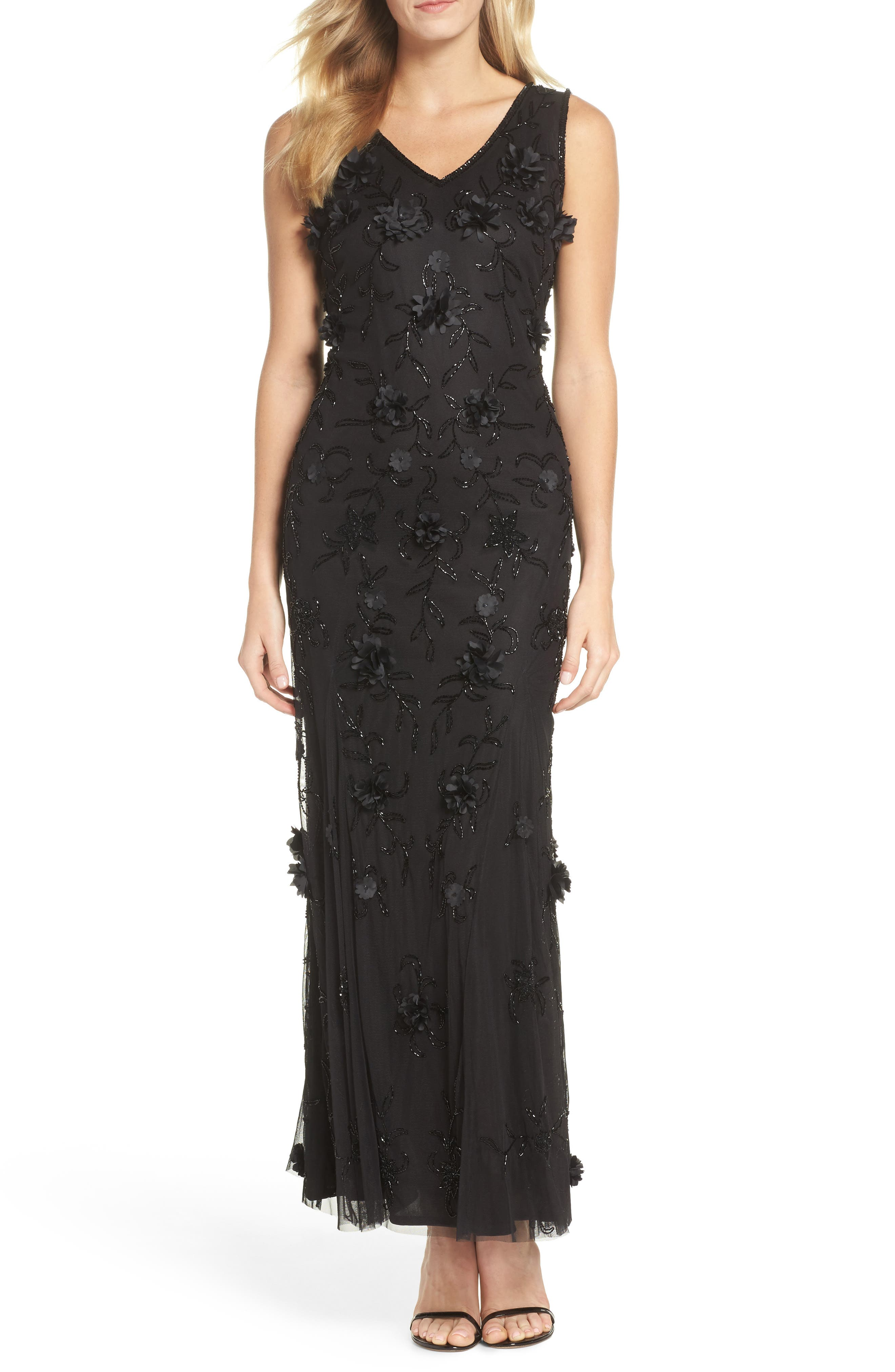 Embellished 3D Floral Maxi Dress,                         Main,                         color, Black