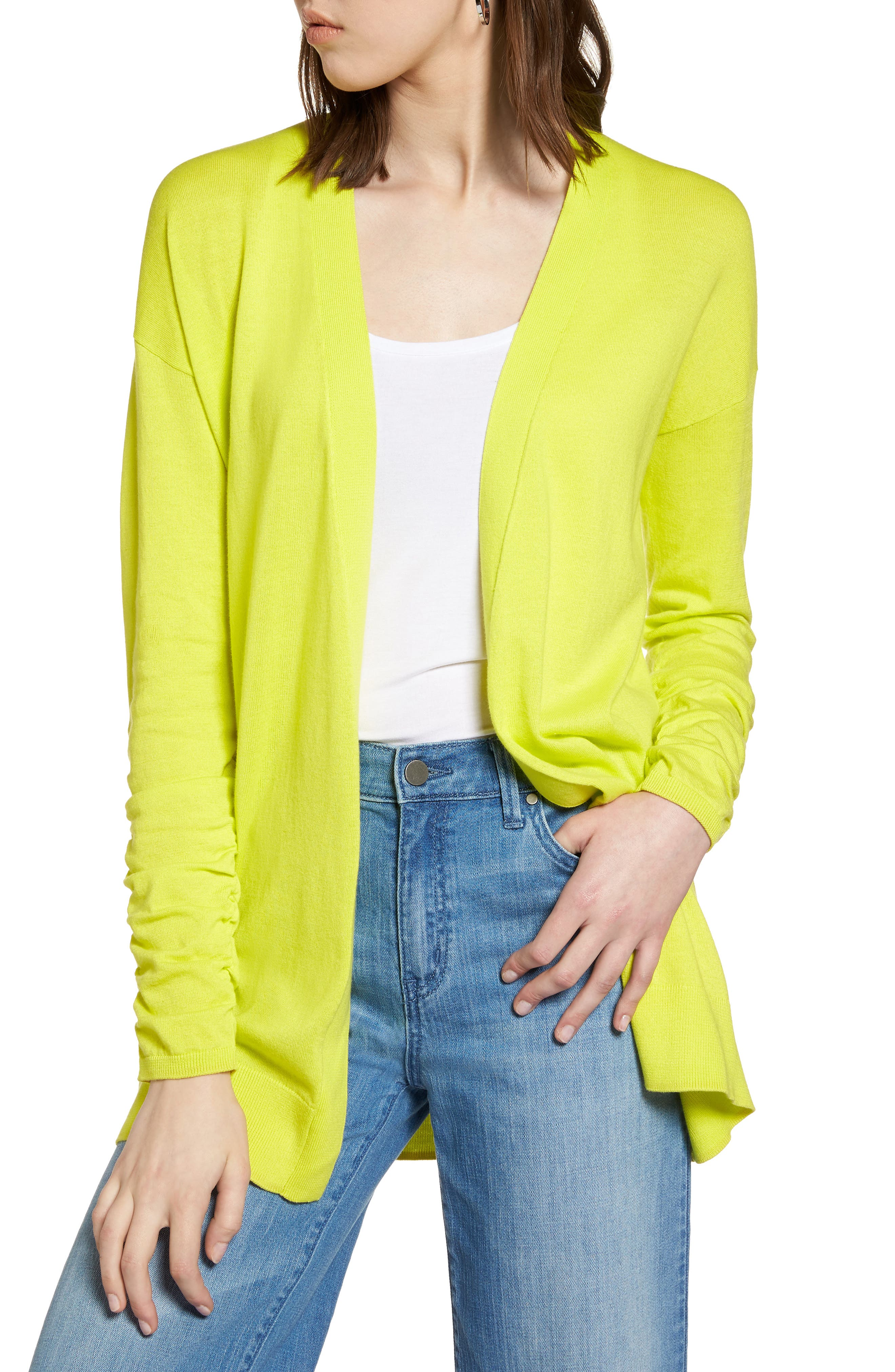 Halogen® Ruched Sleeve Cardigan (Regular & Petite)