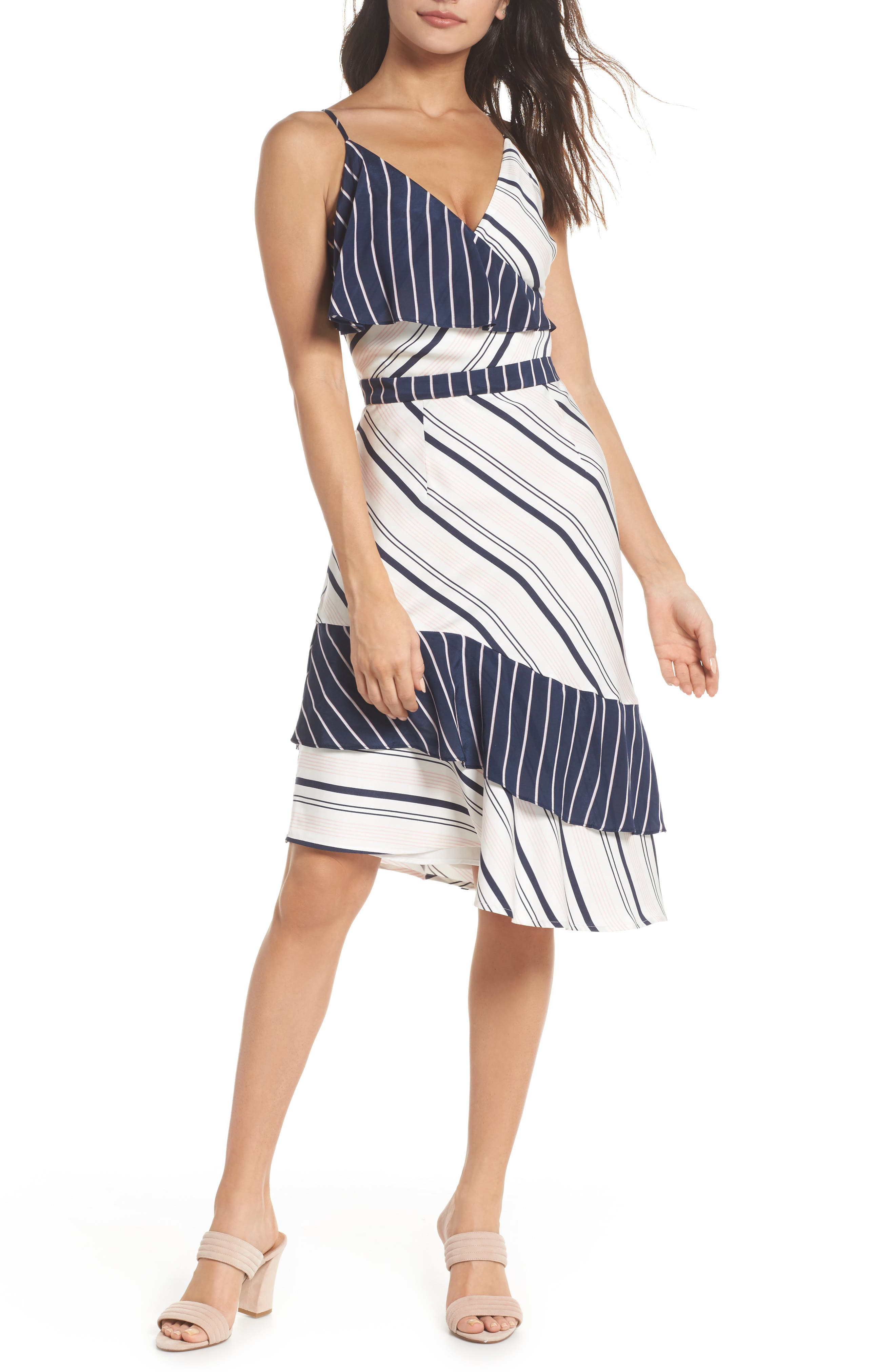 Mix Stripe Asymmetrical Dress,                             Main thumbnail 1, color,                             White/ Navy Miranda Stripe