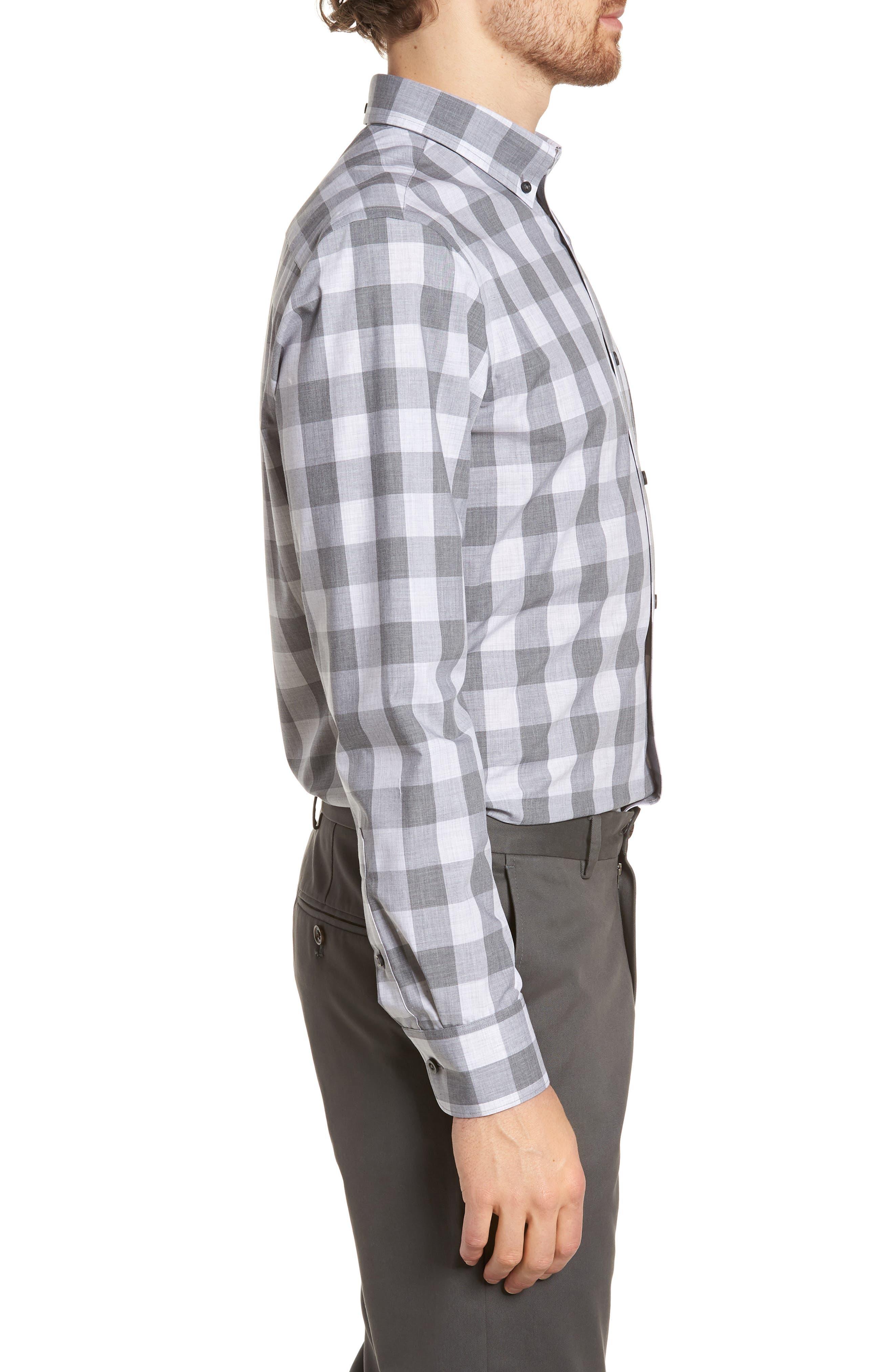 Trim Fit Check Sport Shirt,                             Alternate thumbnail 4, color,                             Grey Shade Buffalo
