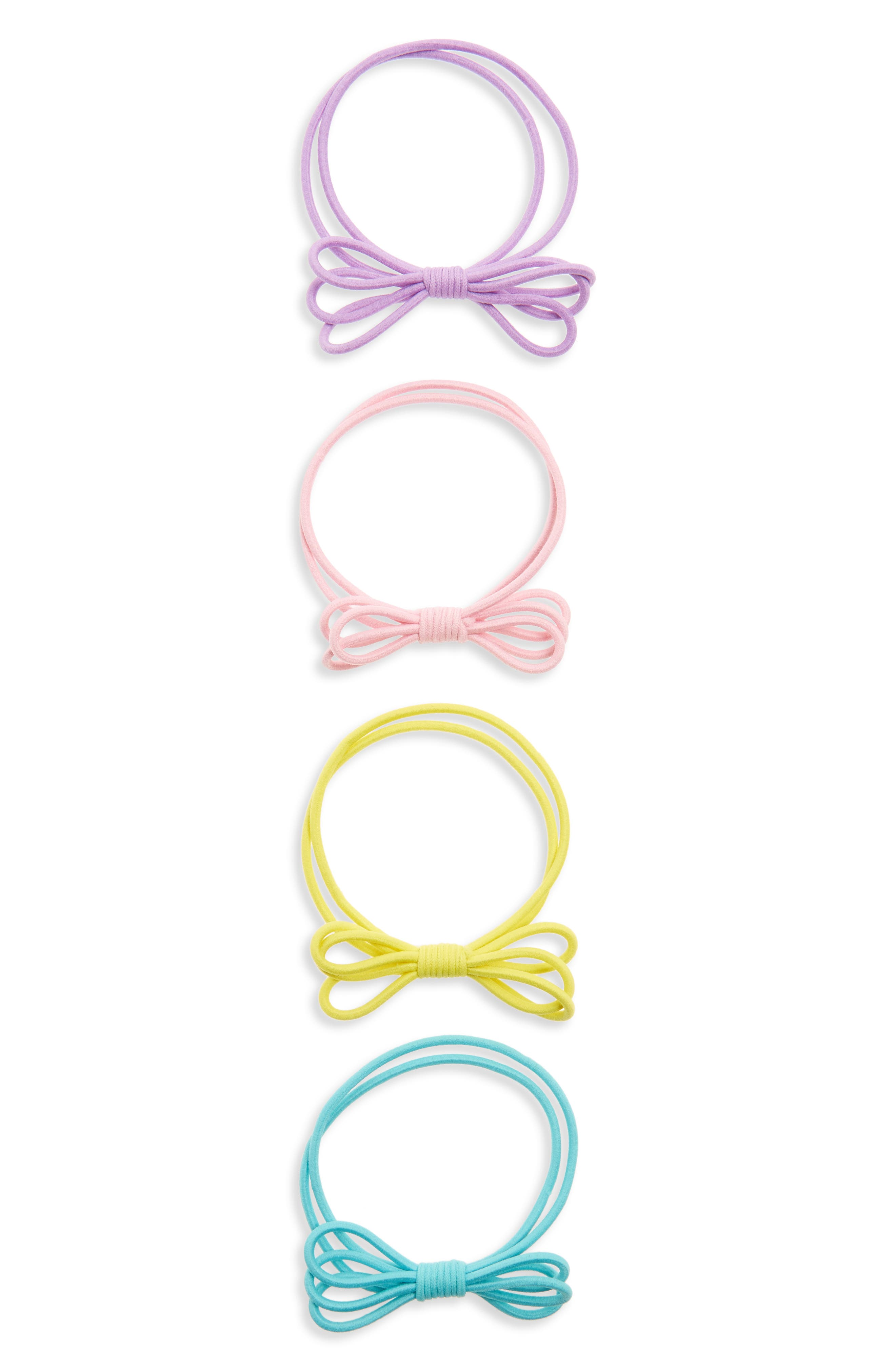 Set of 4 Double Row Bow Ponytail Holders,                         Main,                         color, Multi Bright