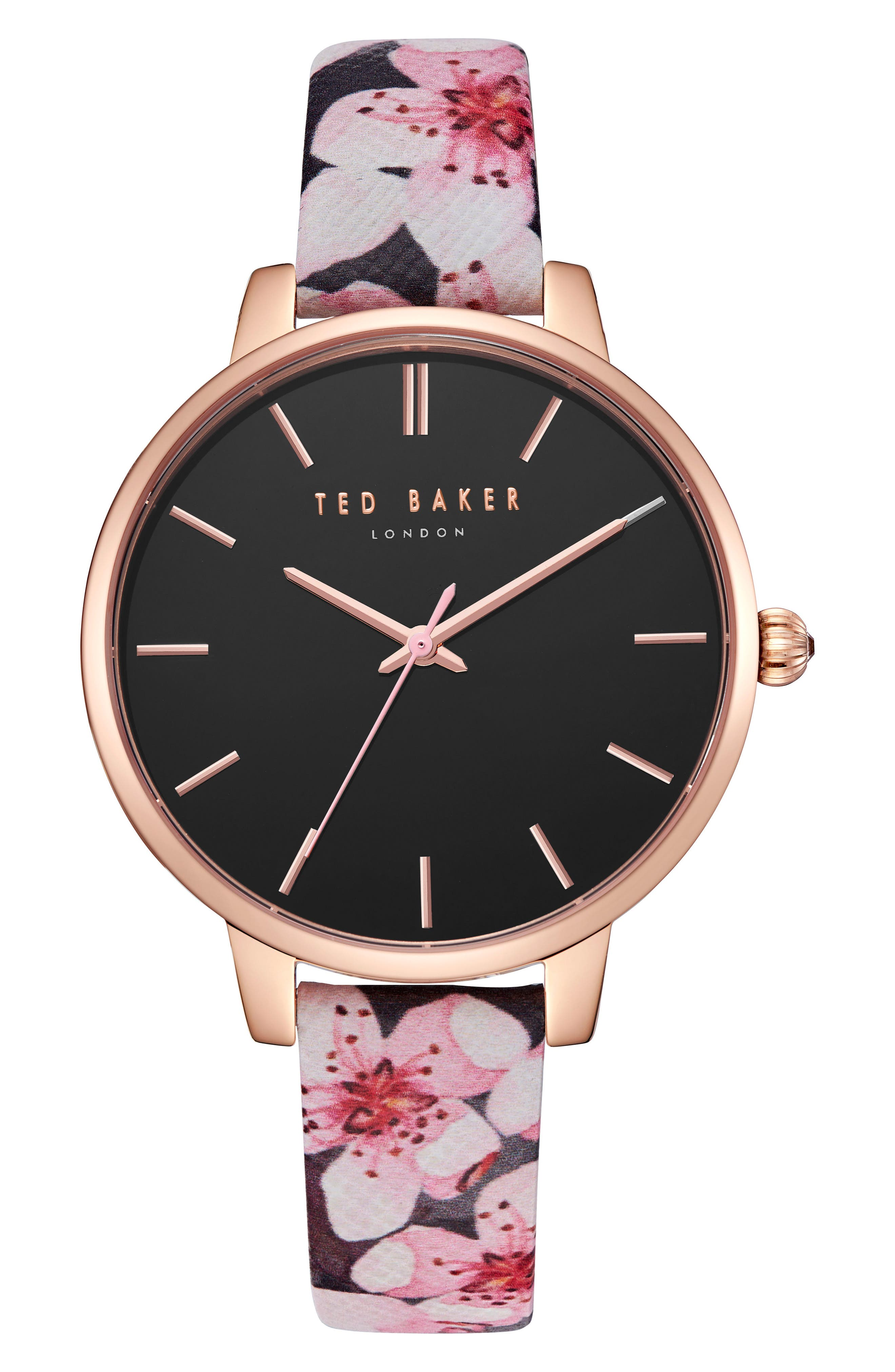 Kate Leather Strap Watch, 38mm,                         Main,                         color, Printed/ Black/ Rose Gold
