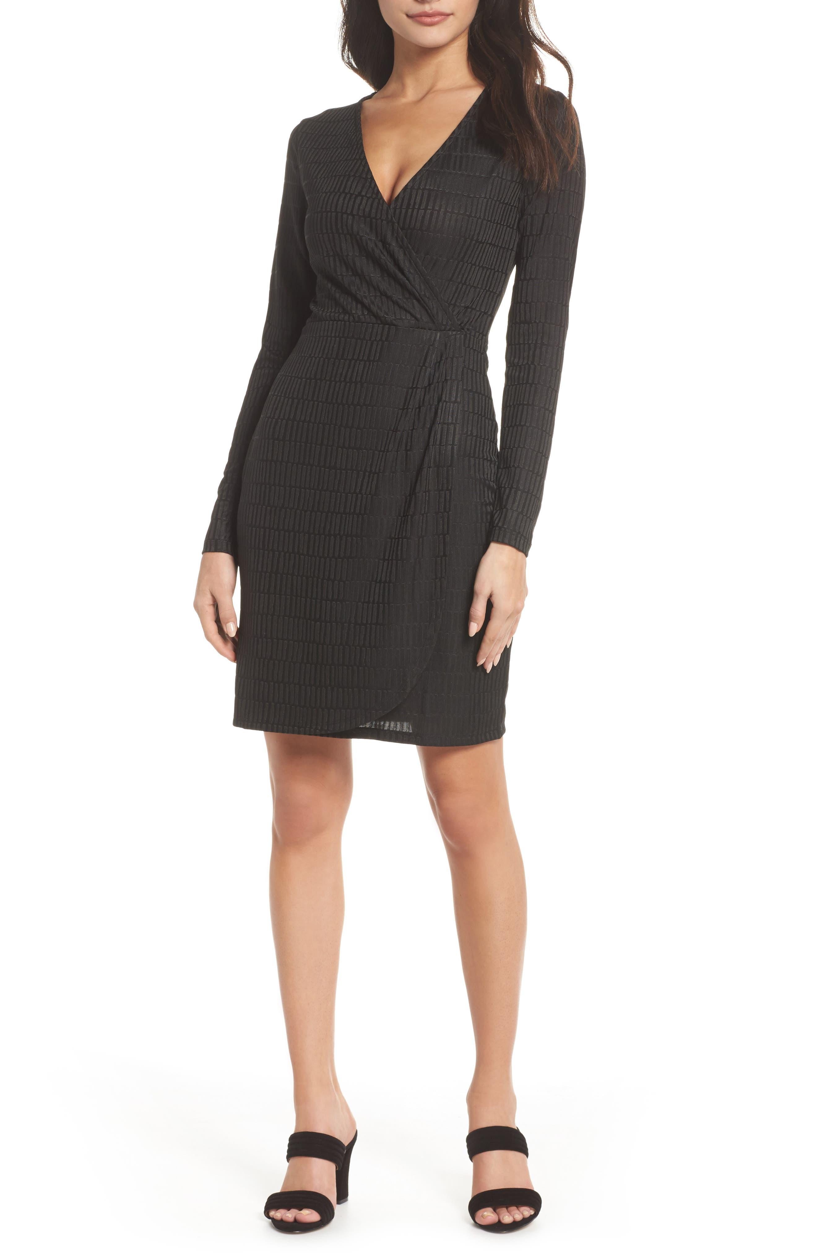 Jacquard Faux Wrap Dress,                         Main,                         color, Graphite
