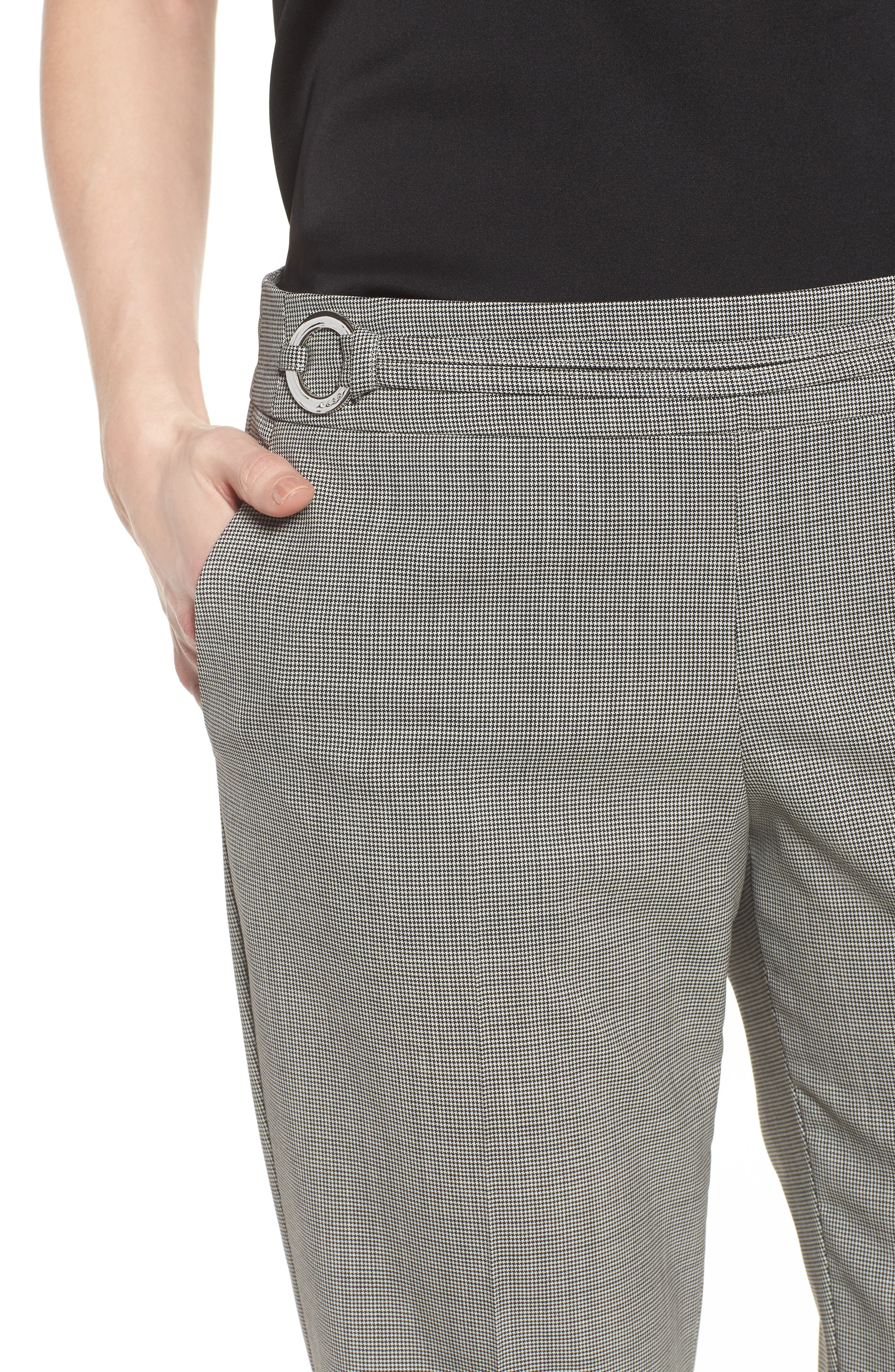 Tavilla Ring Belt Straight Leg Wool Suit Pants,                             Alternate thumbnail 6, color,                             Black Fantasy