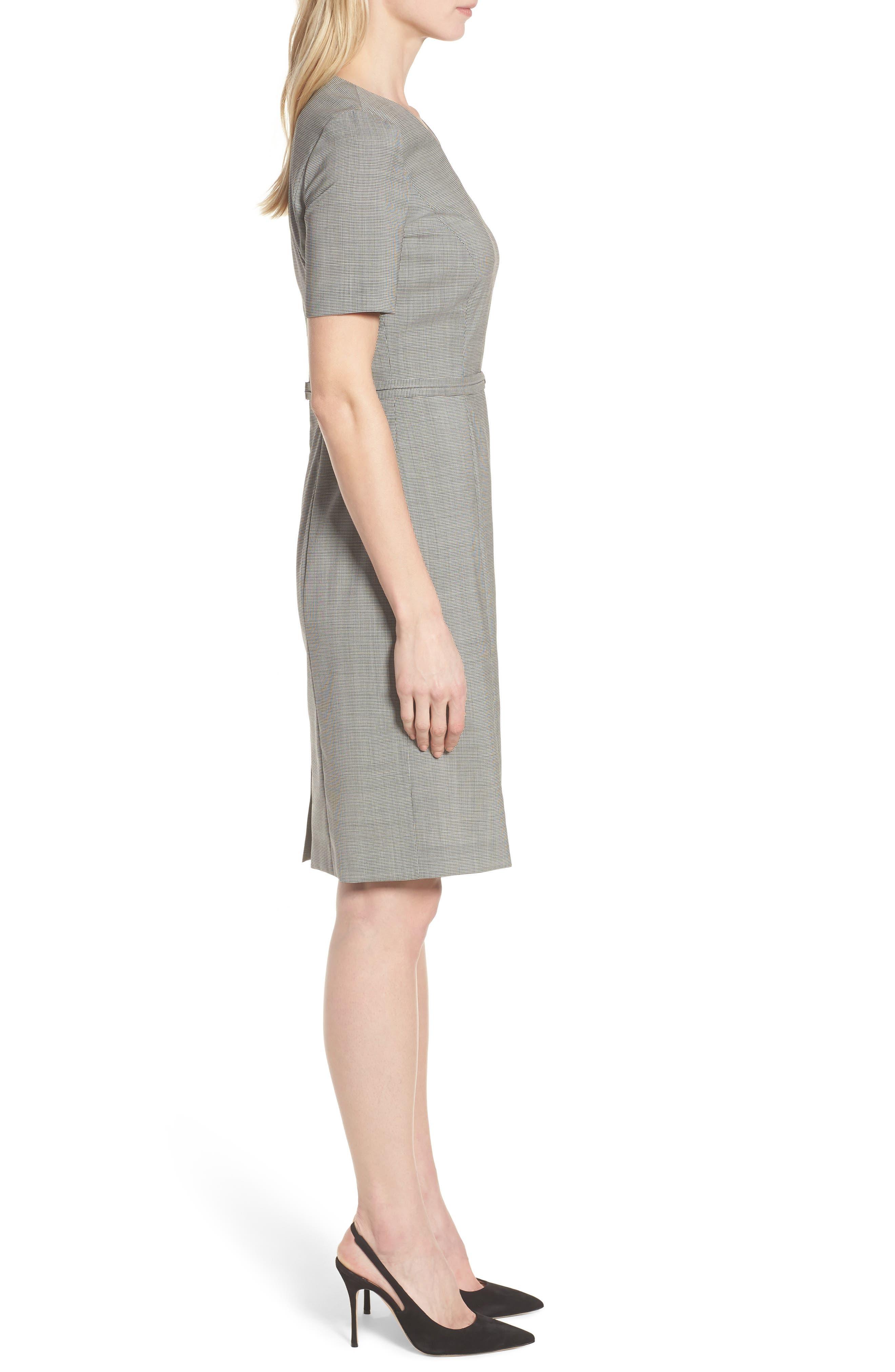 Davilla Stretch Wool Sheath Dress,                             Alternate thumbnail 3, color,                             Black Fantasy