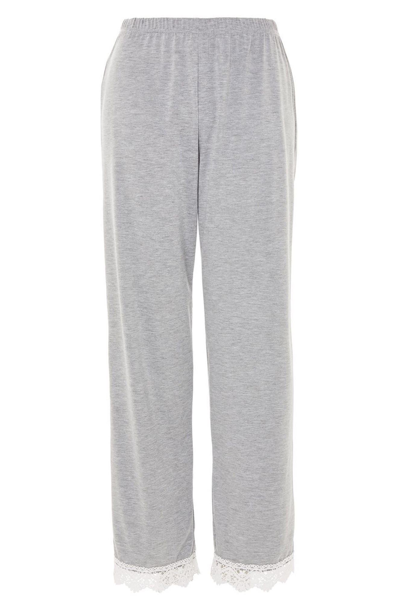 Crochet Trim Pajama Pants,                             Main thumbnail 1, color,                             Grey Multi