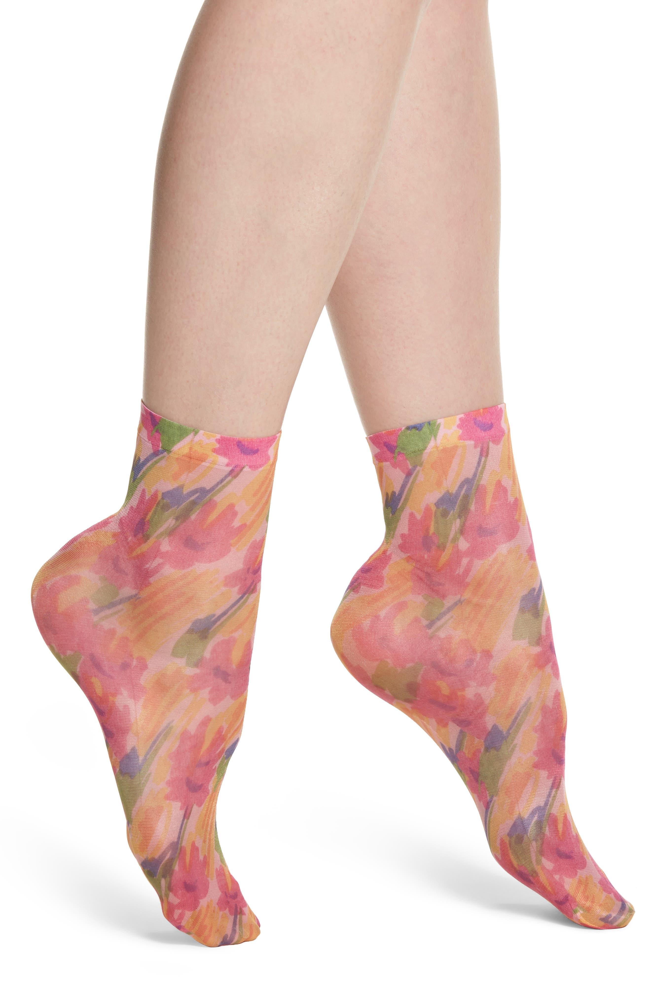 Benedetta Ankle Socks,                             Main thumbnail 1, color,                             Fiore Astratto