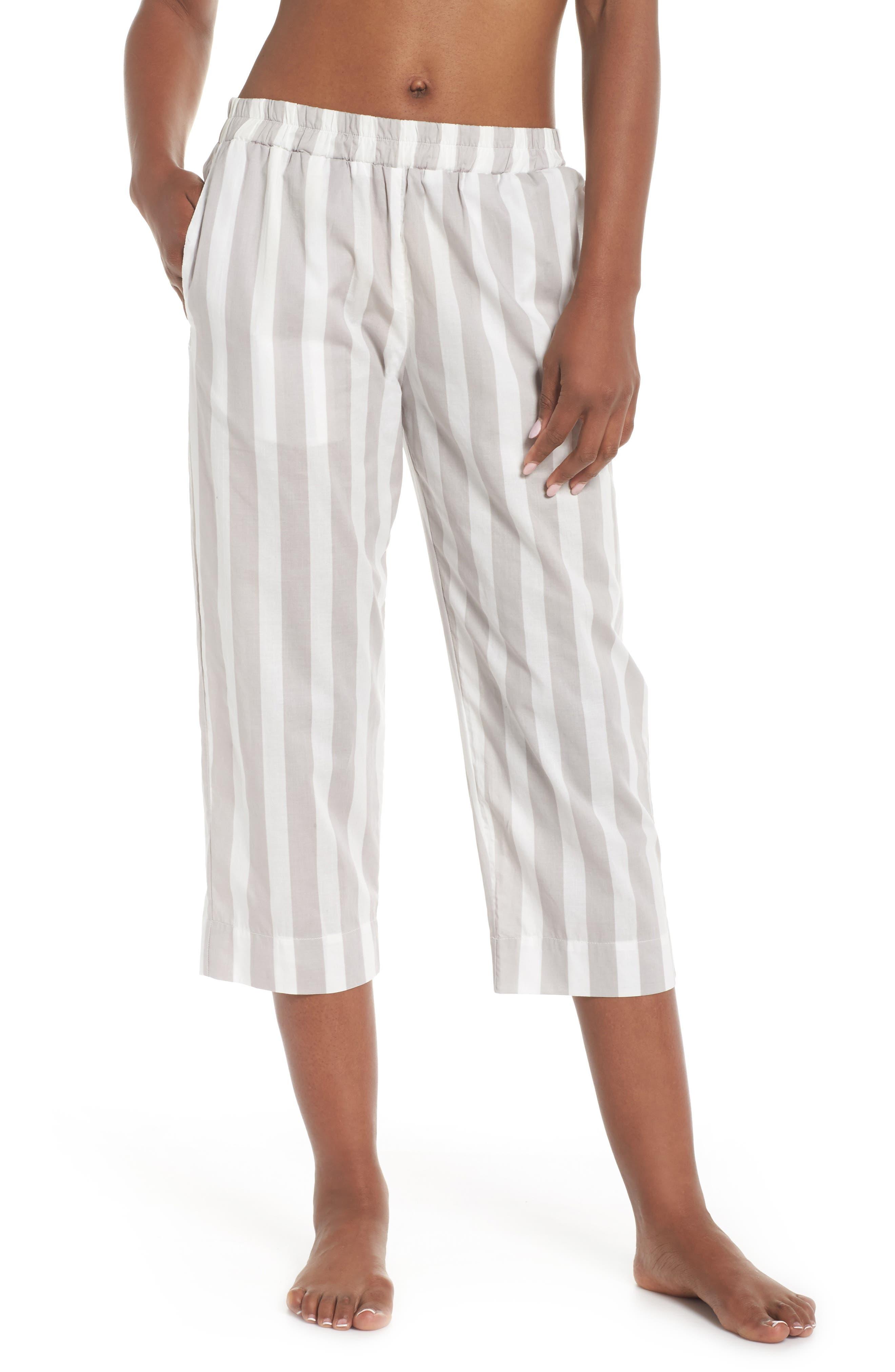 Capri Pajama Pants,                         Main,                         color, Grey Stripe