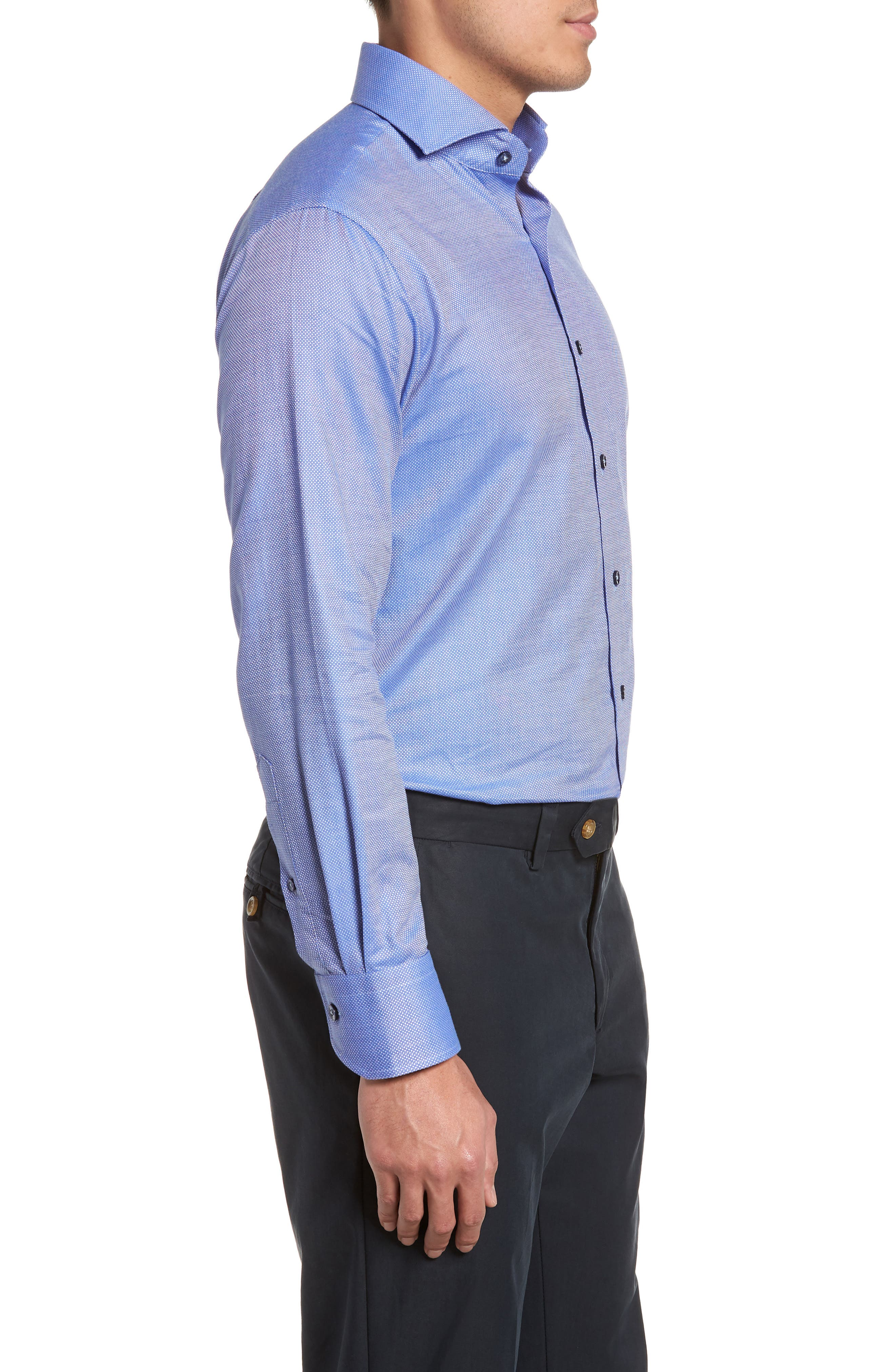 Trim Fit Textured Dress Shirt,                             Alternate thumbnail 4, color,                             Navy
