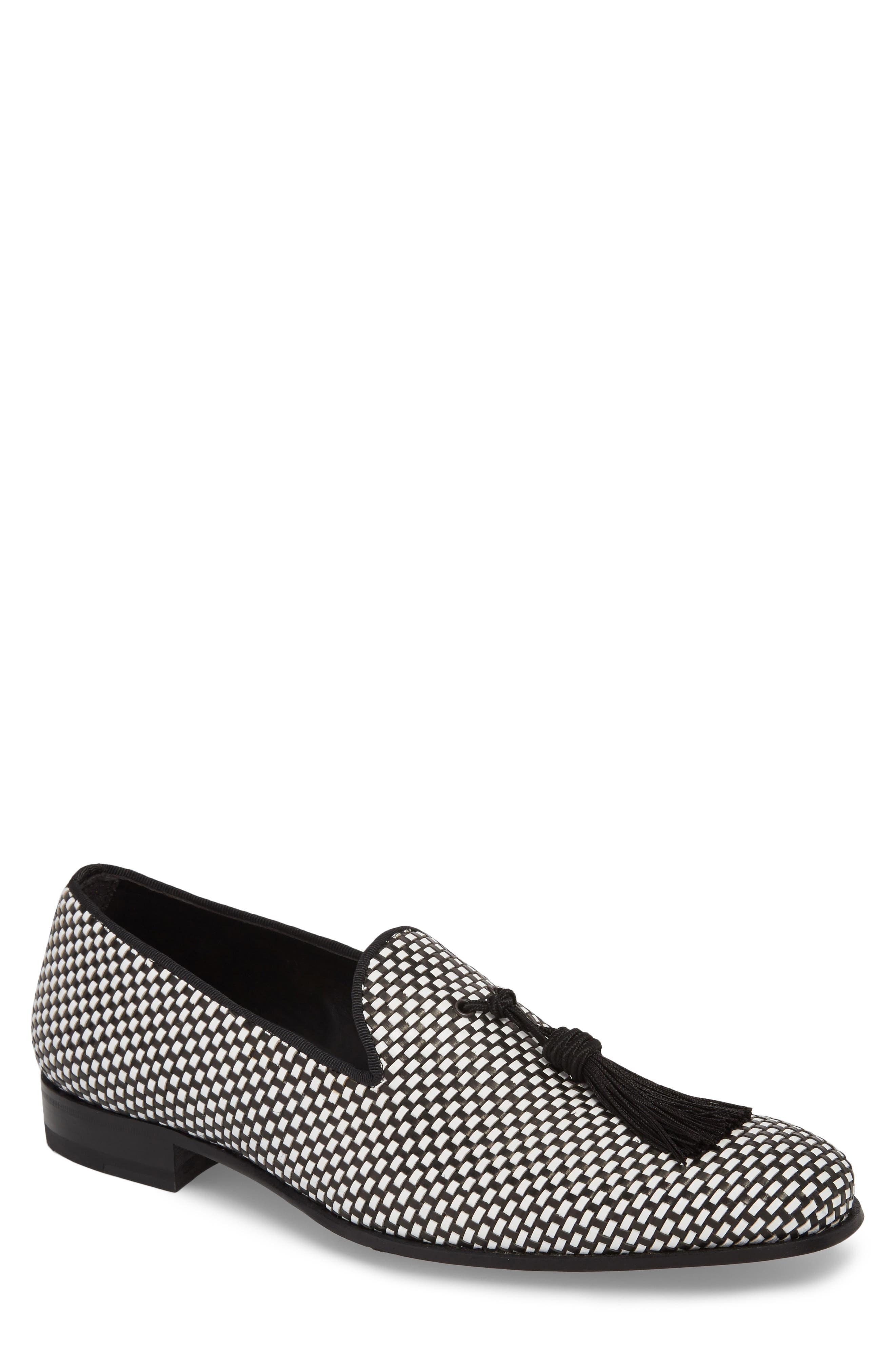 MEZLAN Egeo Tassel Loafer in Black/ White Leather