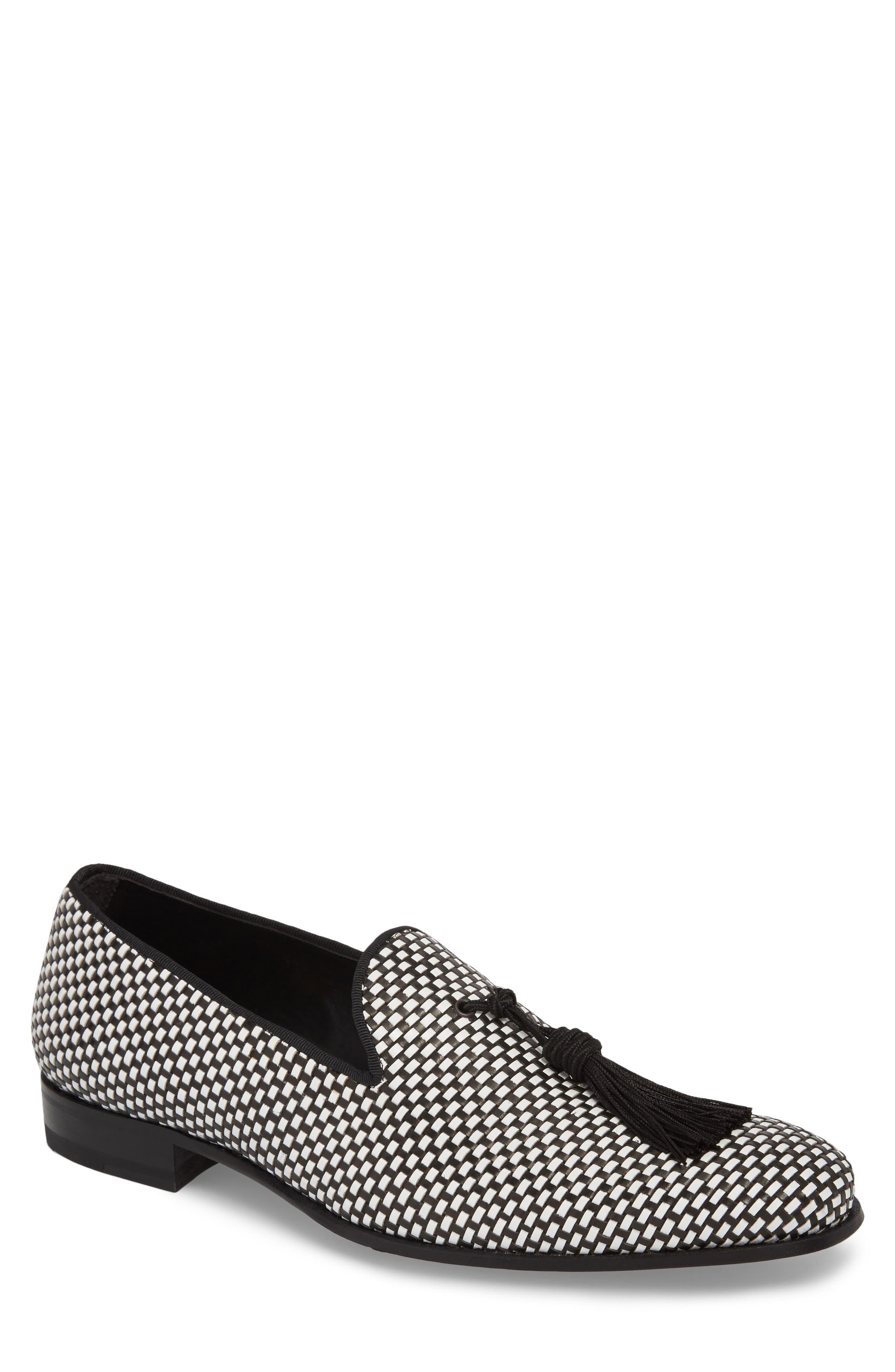 Egeo Tassel Loafer,                         Main,                         color, Black/ White Leather