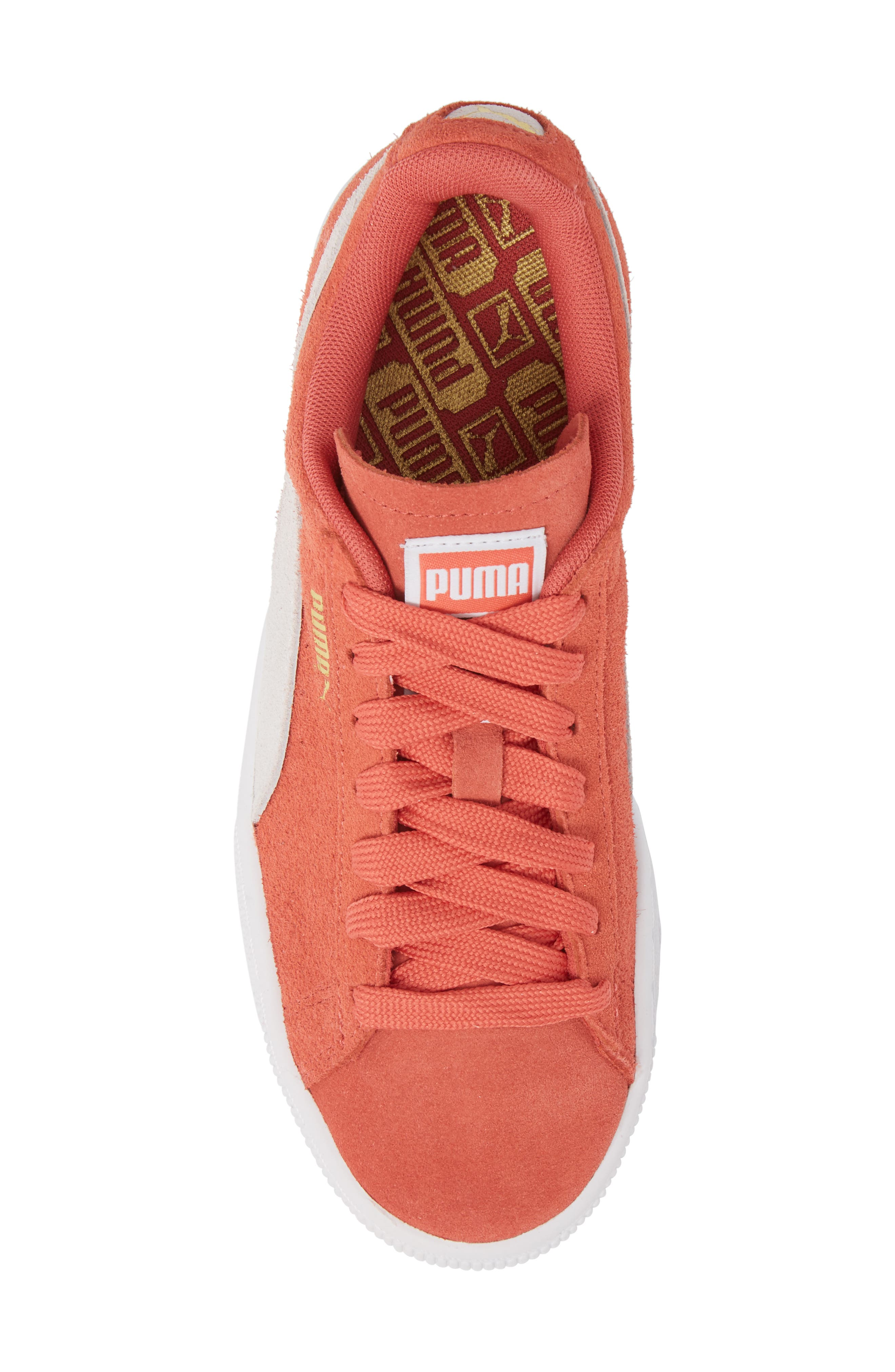 Suede Sneaker,                             Alternate thumbnail 4, color,                             Spiced Coral/ Puma White