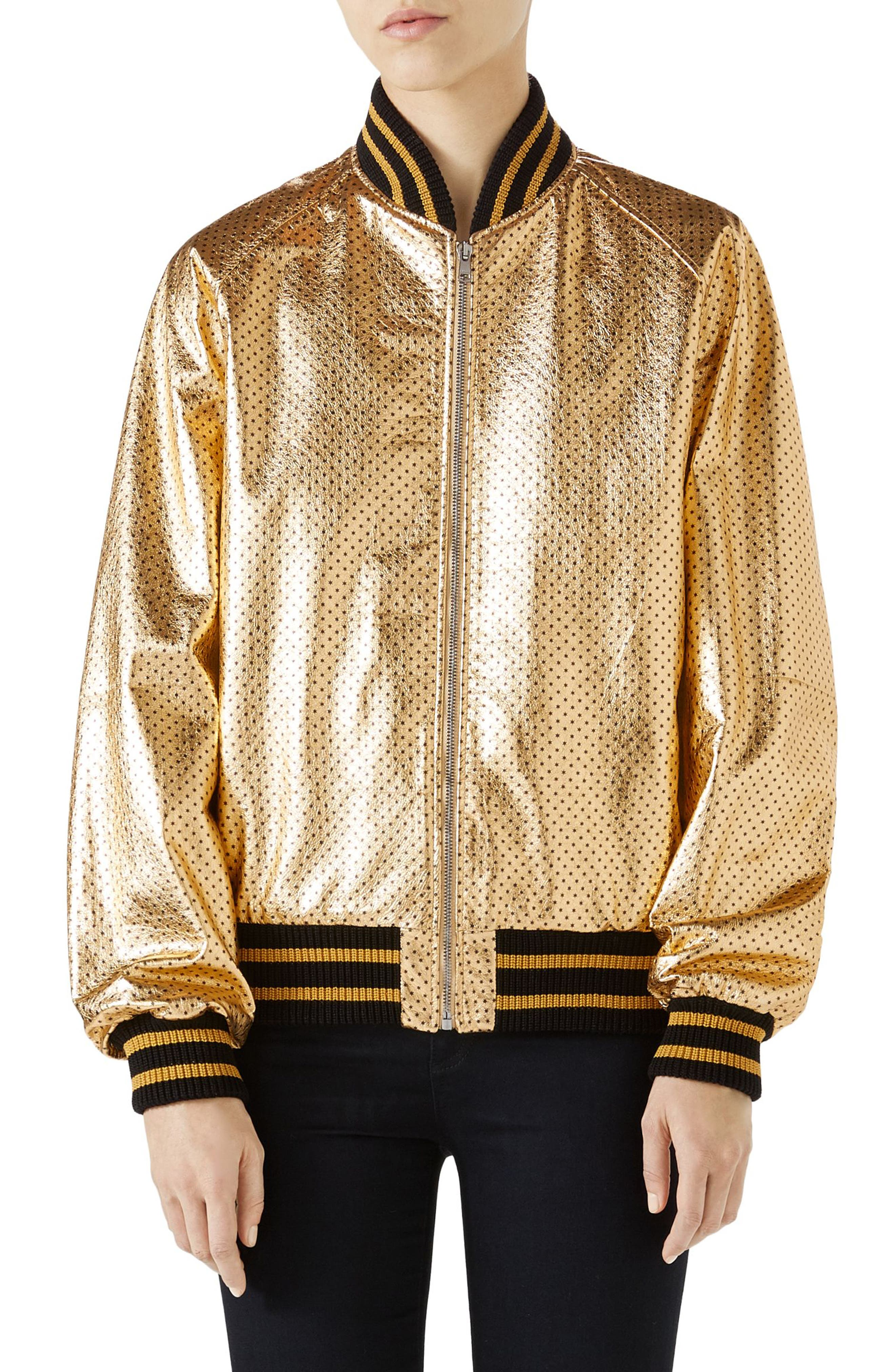 Metallic Perforated Leather Bomber Jacket,                             Main thumbnail 1, color,                             Gold/ Black