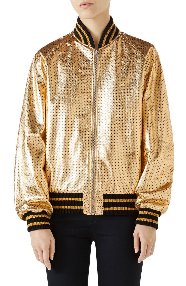 Metallic Perforated Leather Bomber Jacket