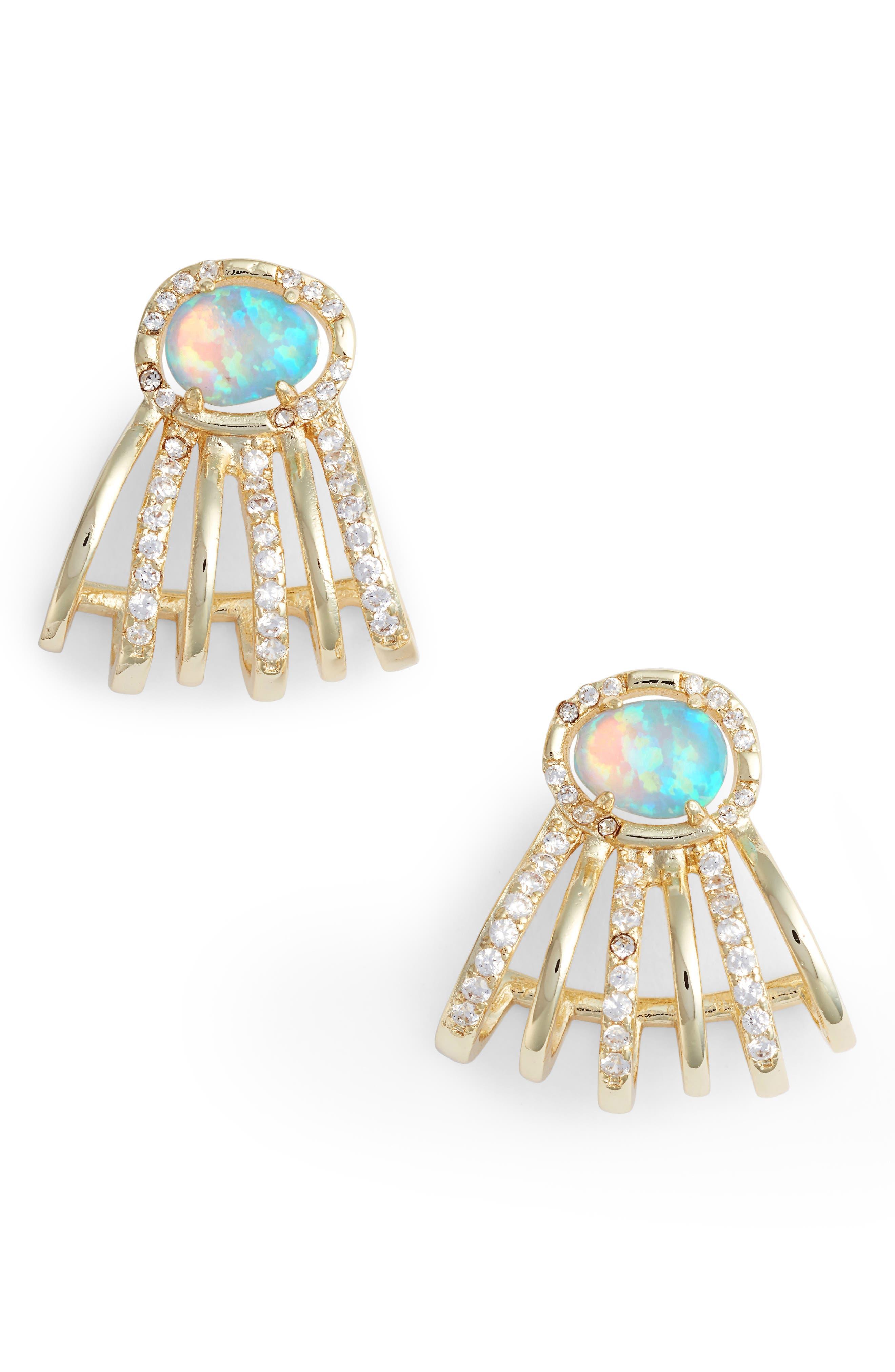 James Opal Earrings,                             Main thumbnail 1, color,                             Opal/ Crystal