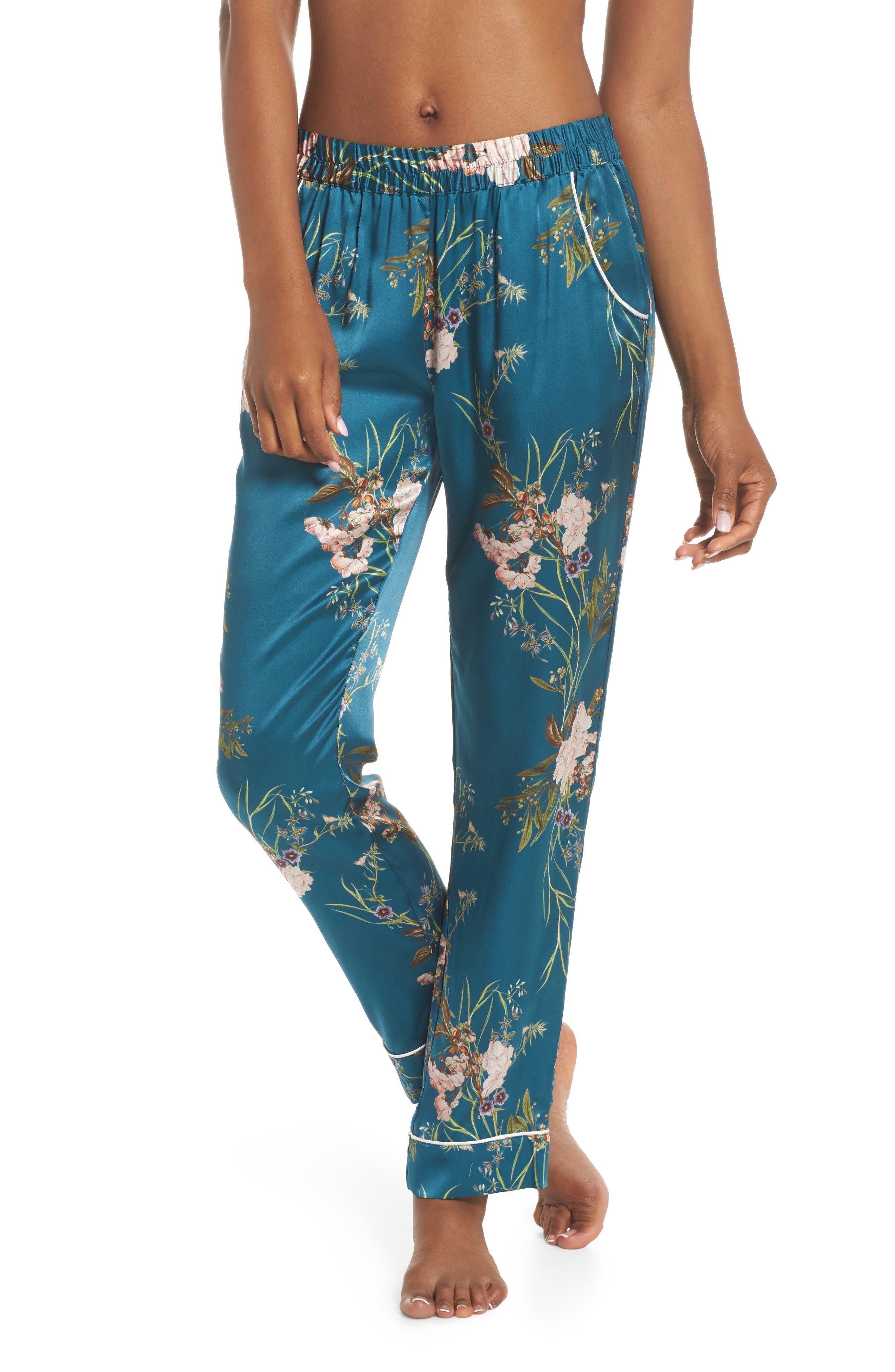 Alexandra Silk Pajama Pants,                         Main,                         color, Teal Floral