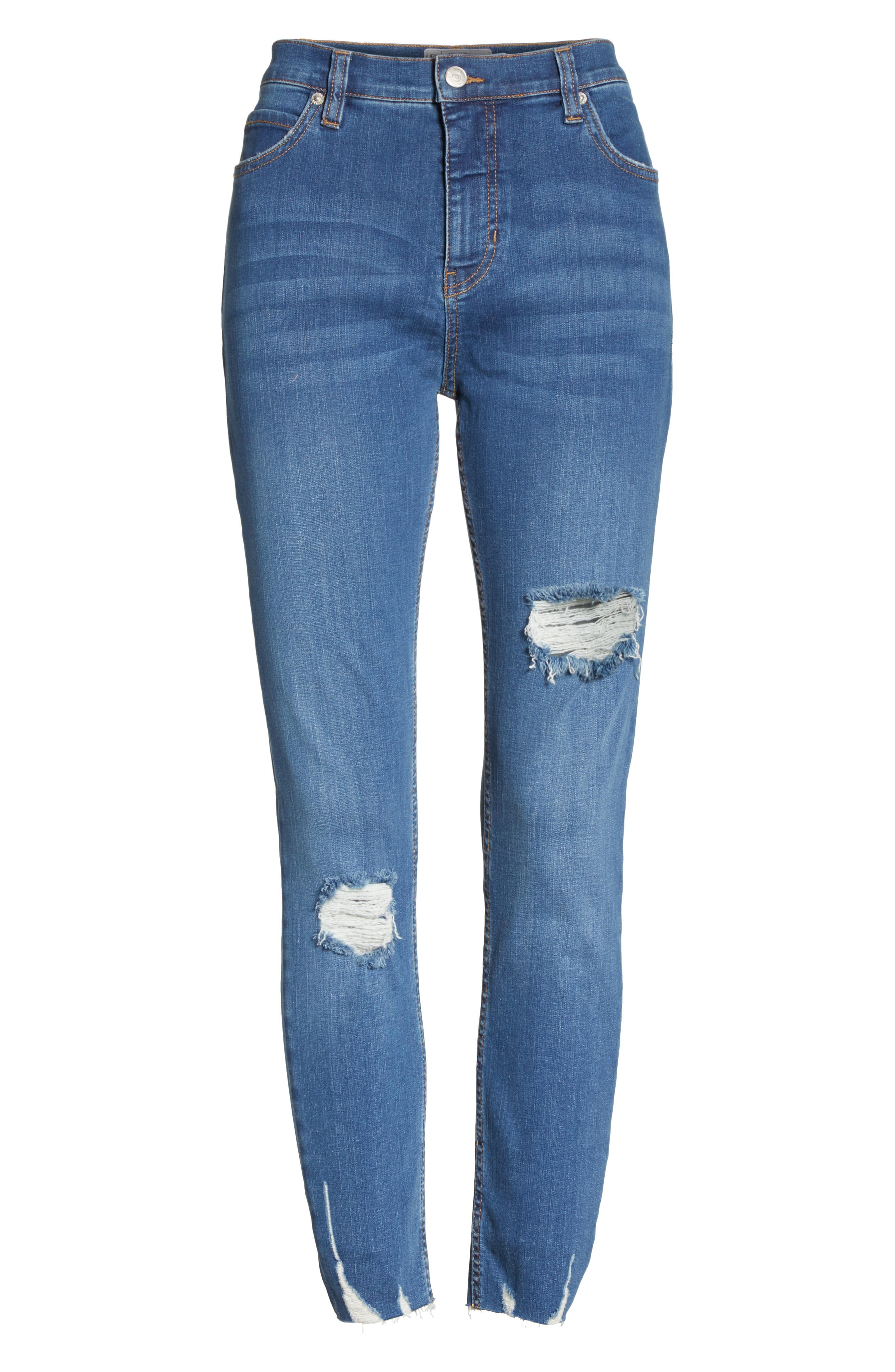Ripped Crop Skinny Jeans,                             Alternate thumbnail 7, color,                             Blue
