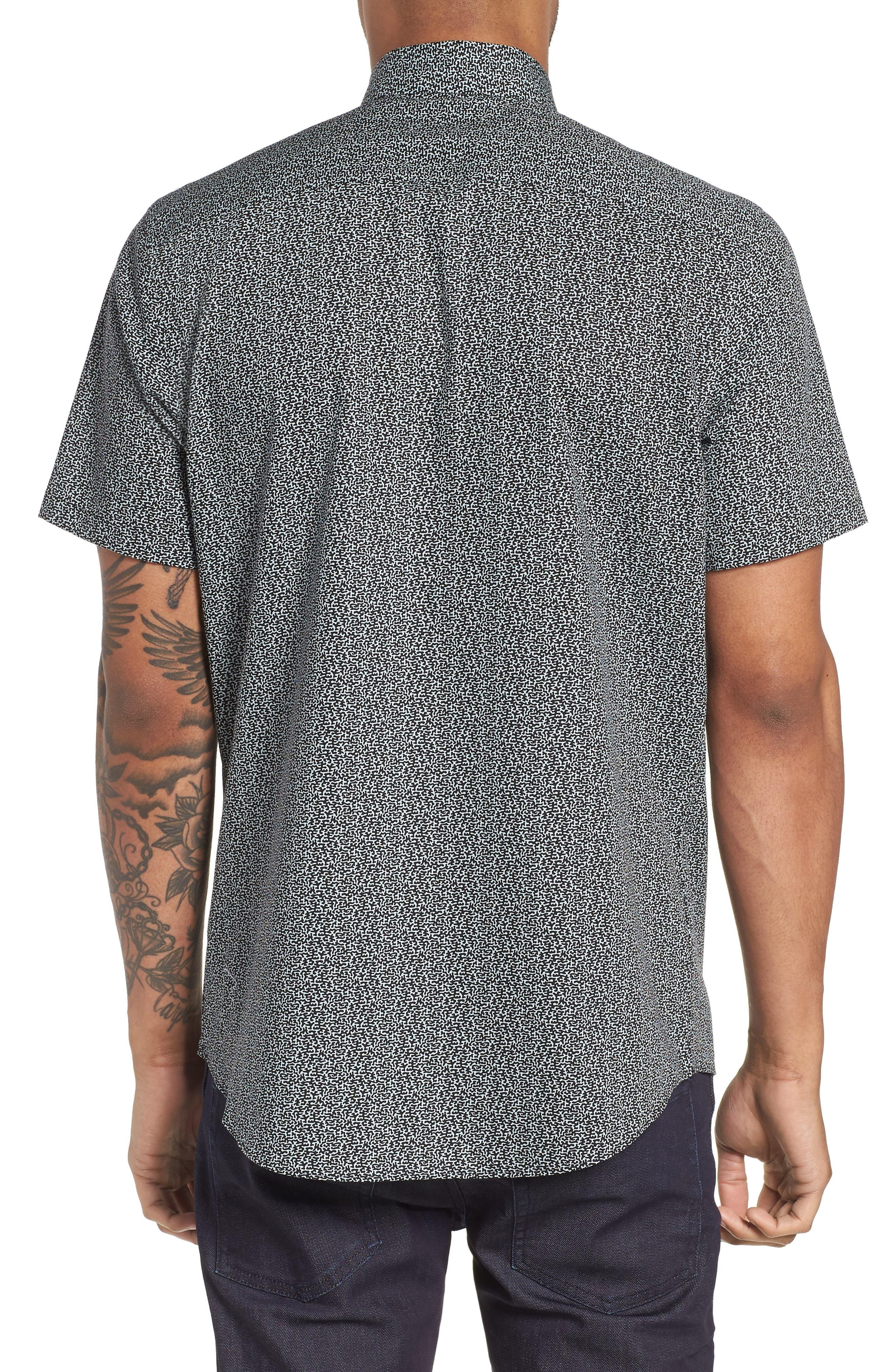 Trim Fit Print Sport Shirt,                             Alternate thumbnail 3, color,                             Blue Cloud Black Abstract