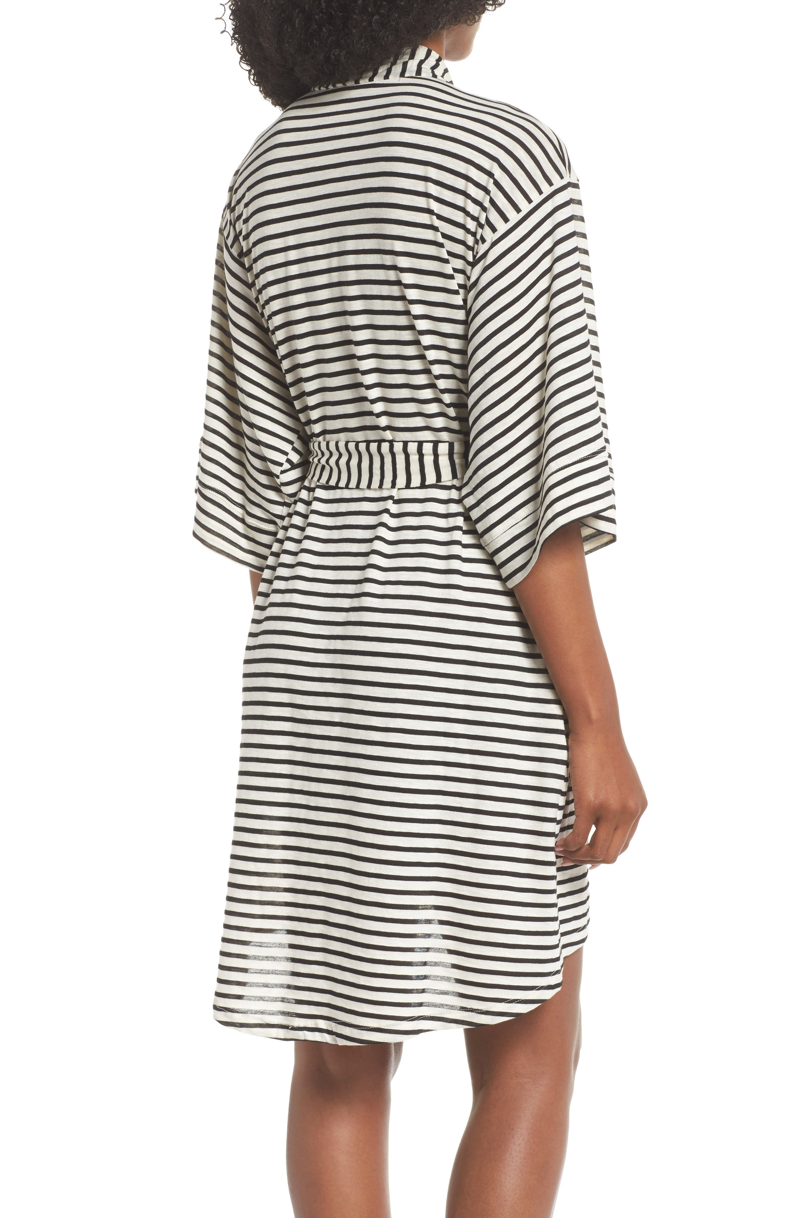 Florence Short Robe,                             Alternate thumbnail 2, color,                             Pearl Stripe