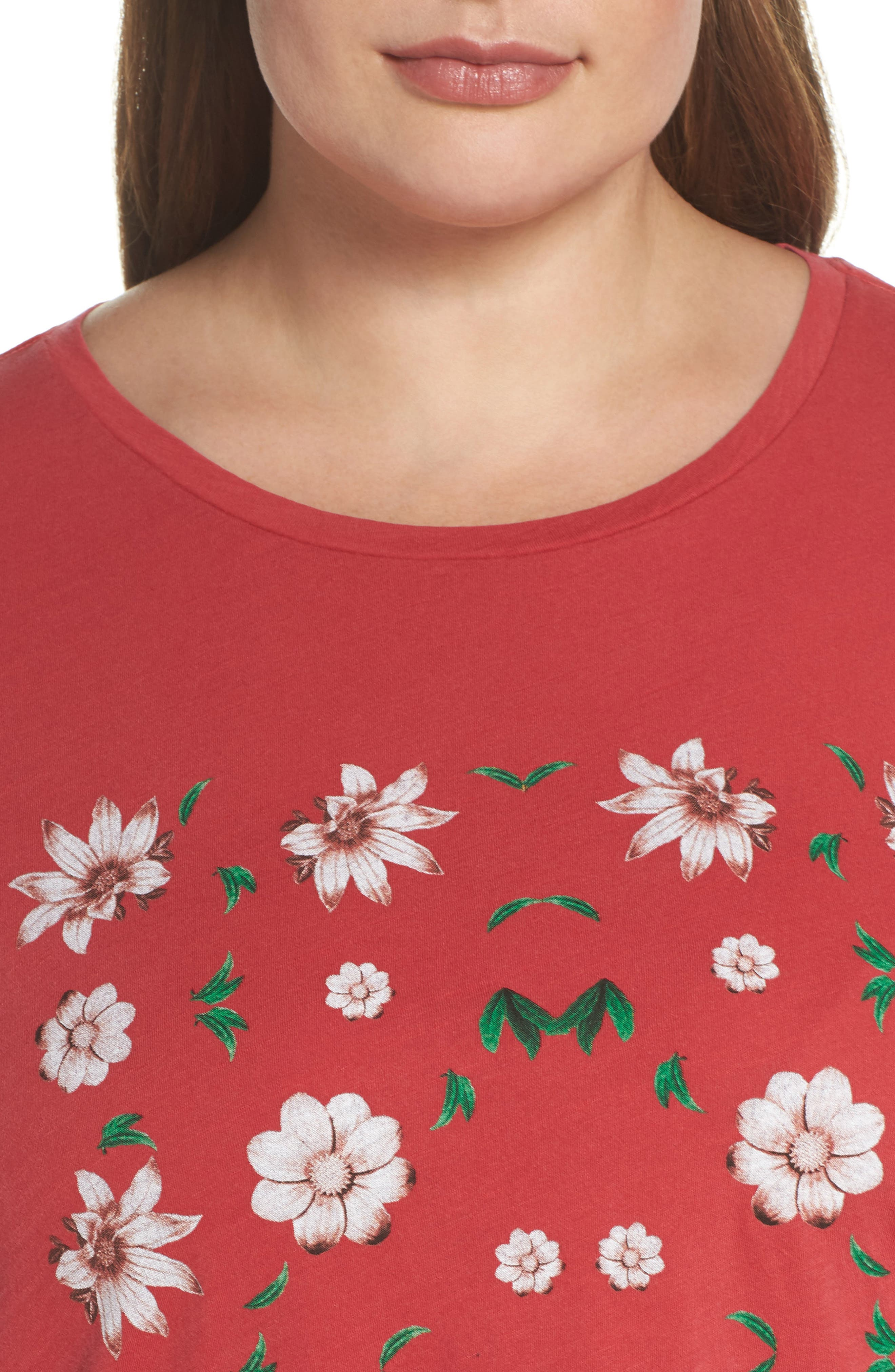 Flowers Tee,                             Alternate thumbnail 4, color,                             Red