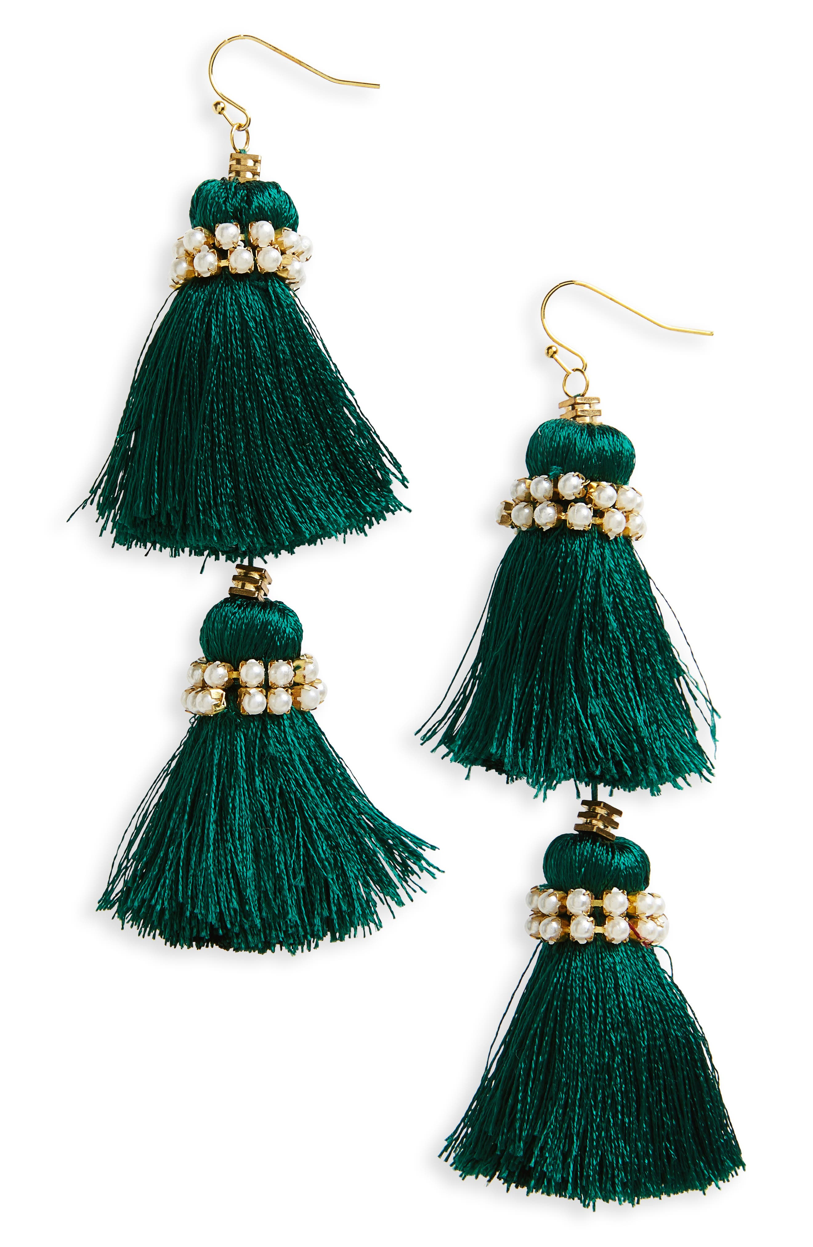 Imitation Pearl & Tassel Earrings,                         Main,                         color, Emerald/ Gold Pearl
