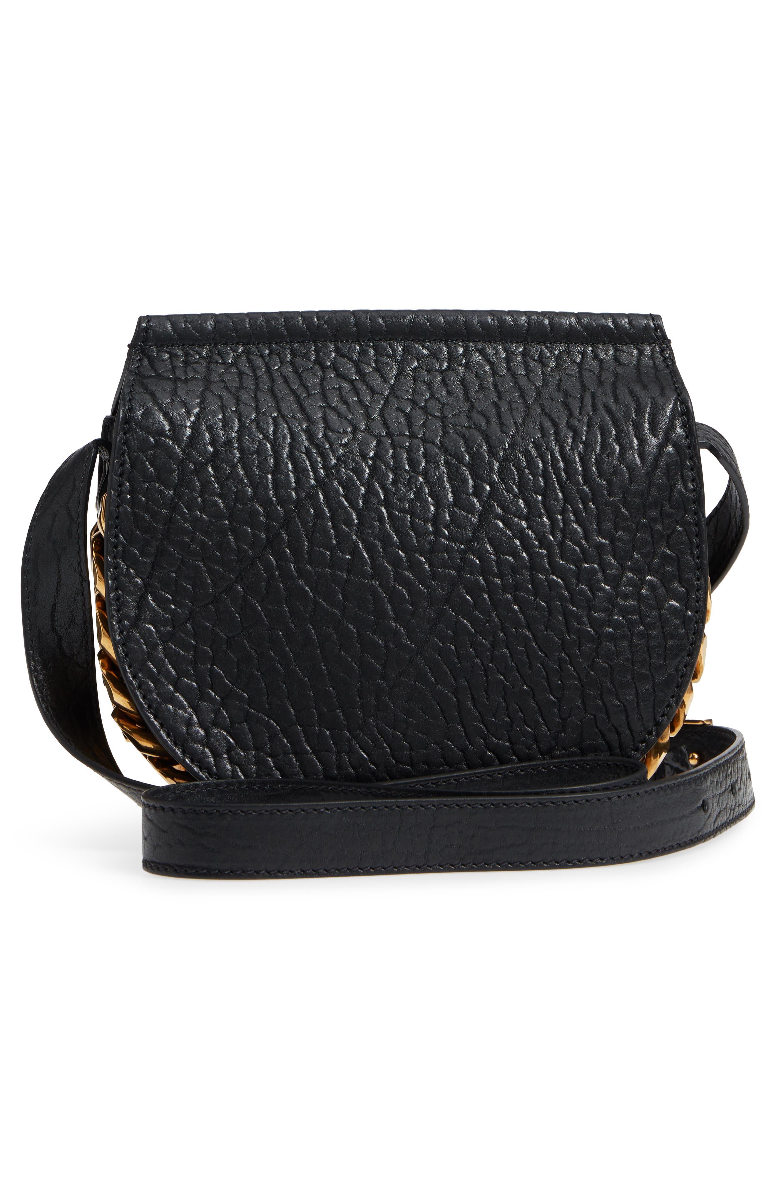 Infinity Calfskin Leather Saddle Bag,                             Alternate thumbnail 3, color,                             Black